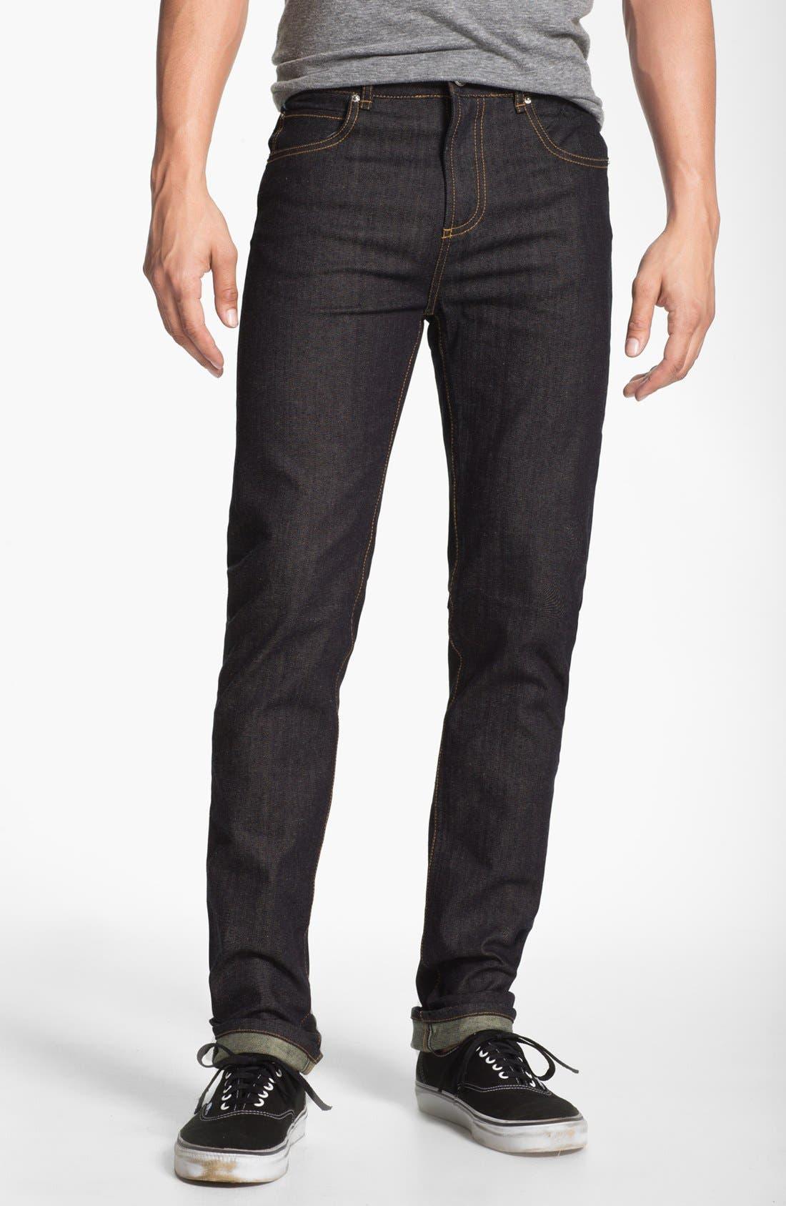 Alternate Image 2  - Obey 'Juvee' Slim Fit Selvedge Jeans (Raw Indigo)