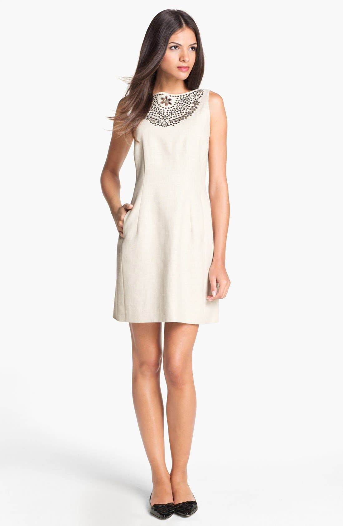 Main Image - kate spade new york 'domino' embroidered shift dress