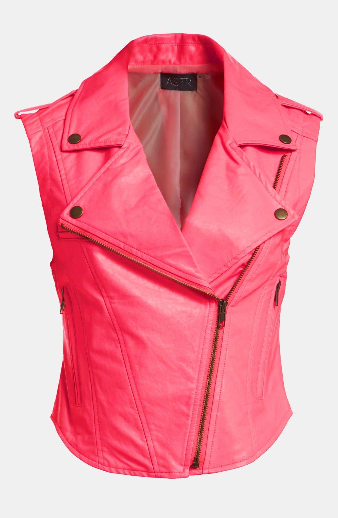 Main Image - ASTR Faux Leather Biker Vest