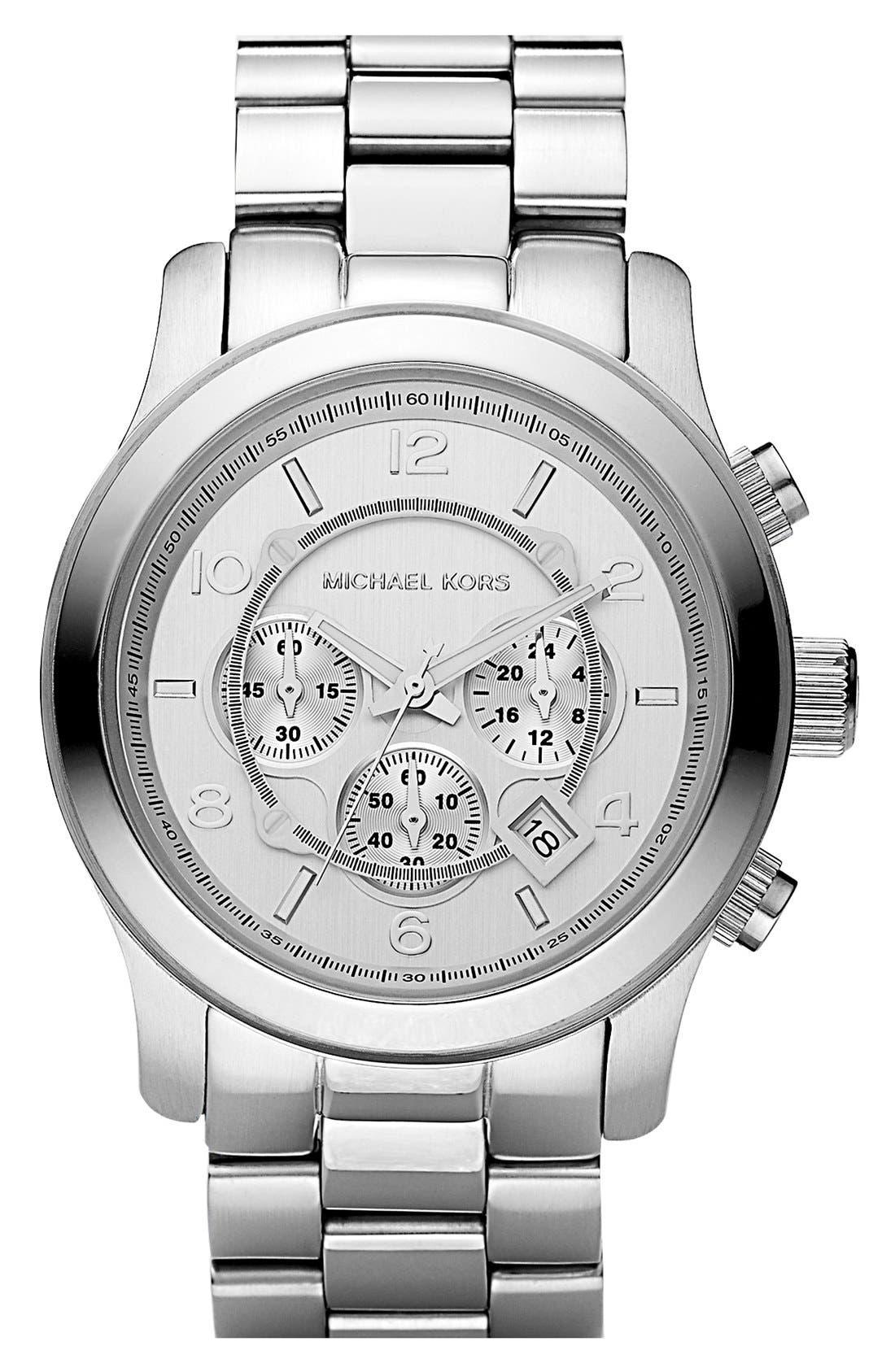 Main Image - Michael Kors 'Silvertone Oversize Iconic' Chronograph Watch, 45mm