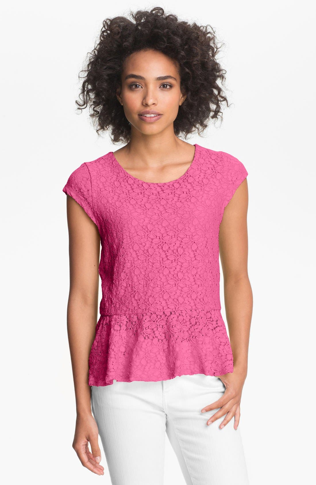 Main Image - Vince Camuto Cap Sleeve Lace Peplum Top