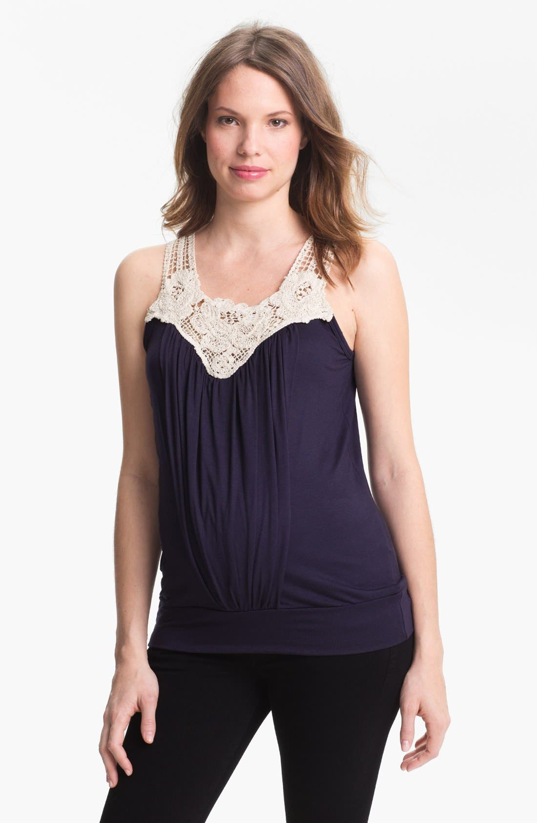 Main Image - Japanese Weekend Crochet Neckline Maternity Top