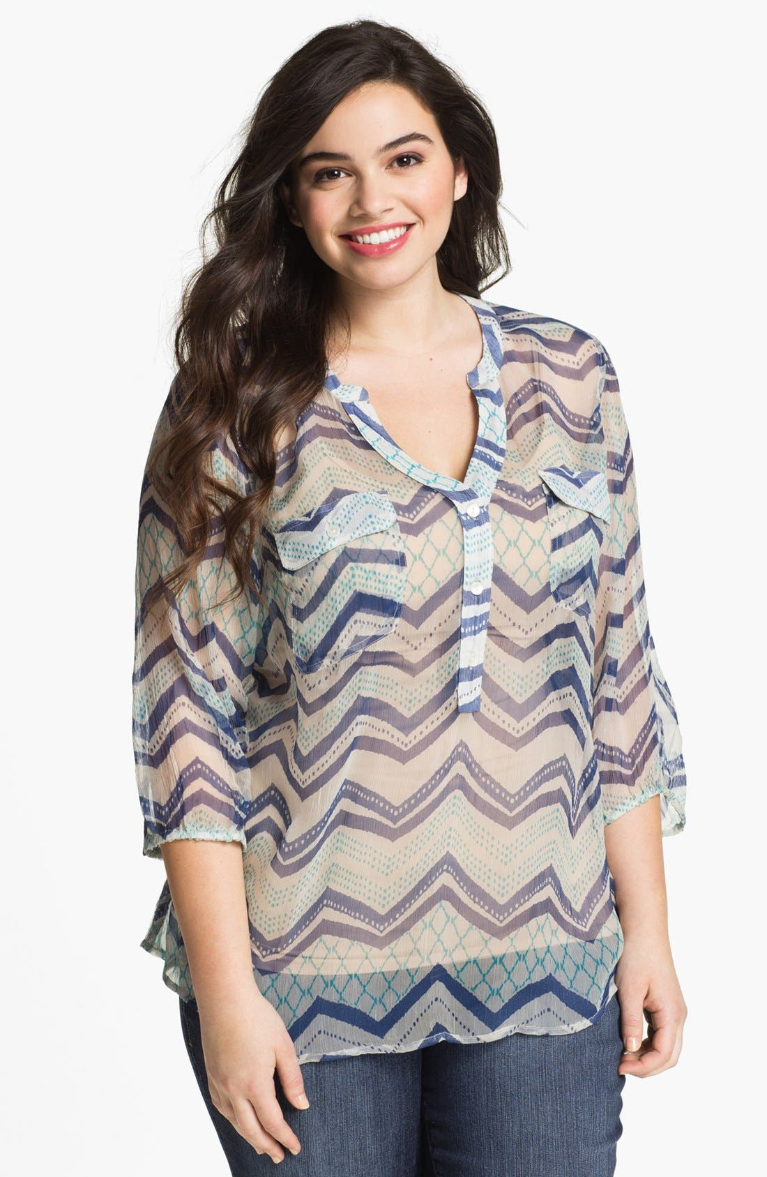 Alternate Image 1 Selected - Lucky Brand 'Terrenea' Stripe Blouse (Plus Size)