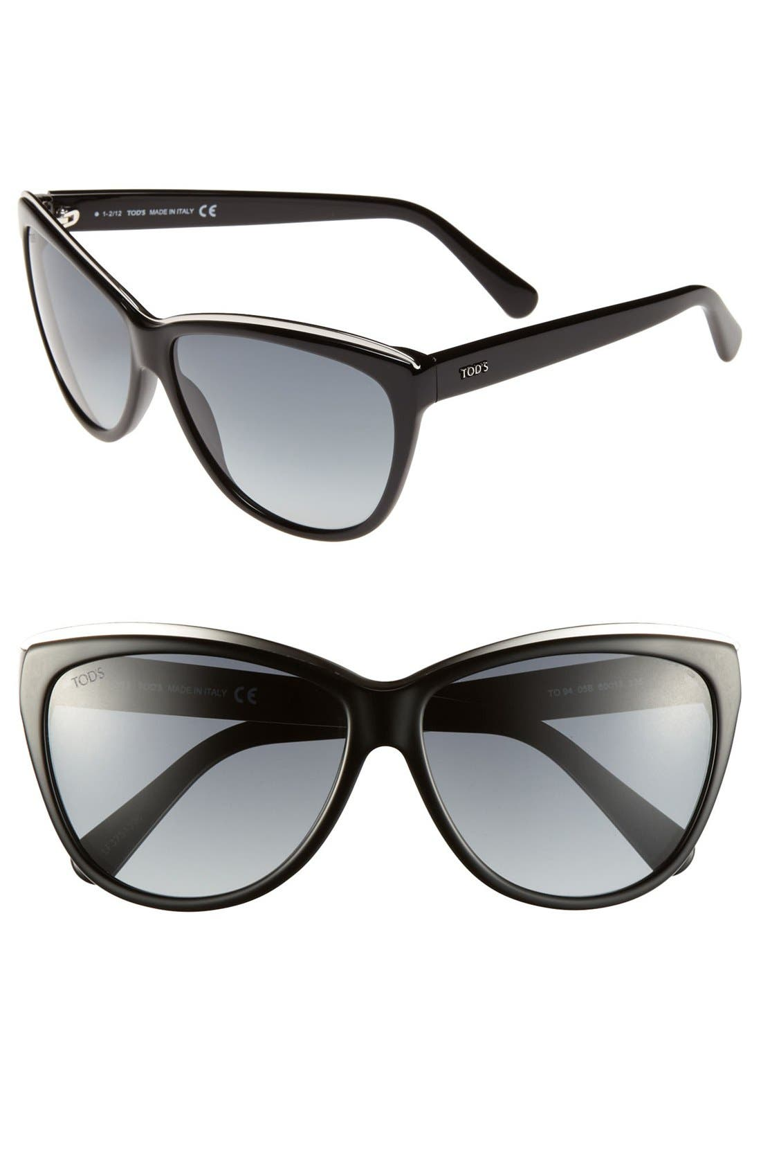 Main Image - Tod's 60mm Metal Trim Sunglasses