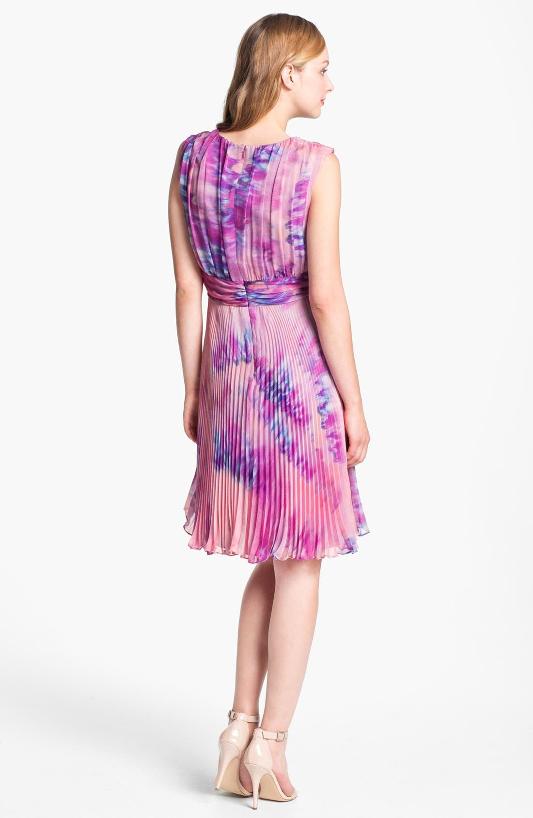 Alternate Image 2  - Suzi Chin for Maggy Boutique Pleated Print Chiffon Dress