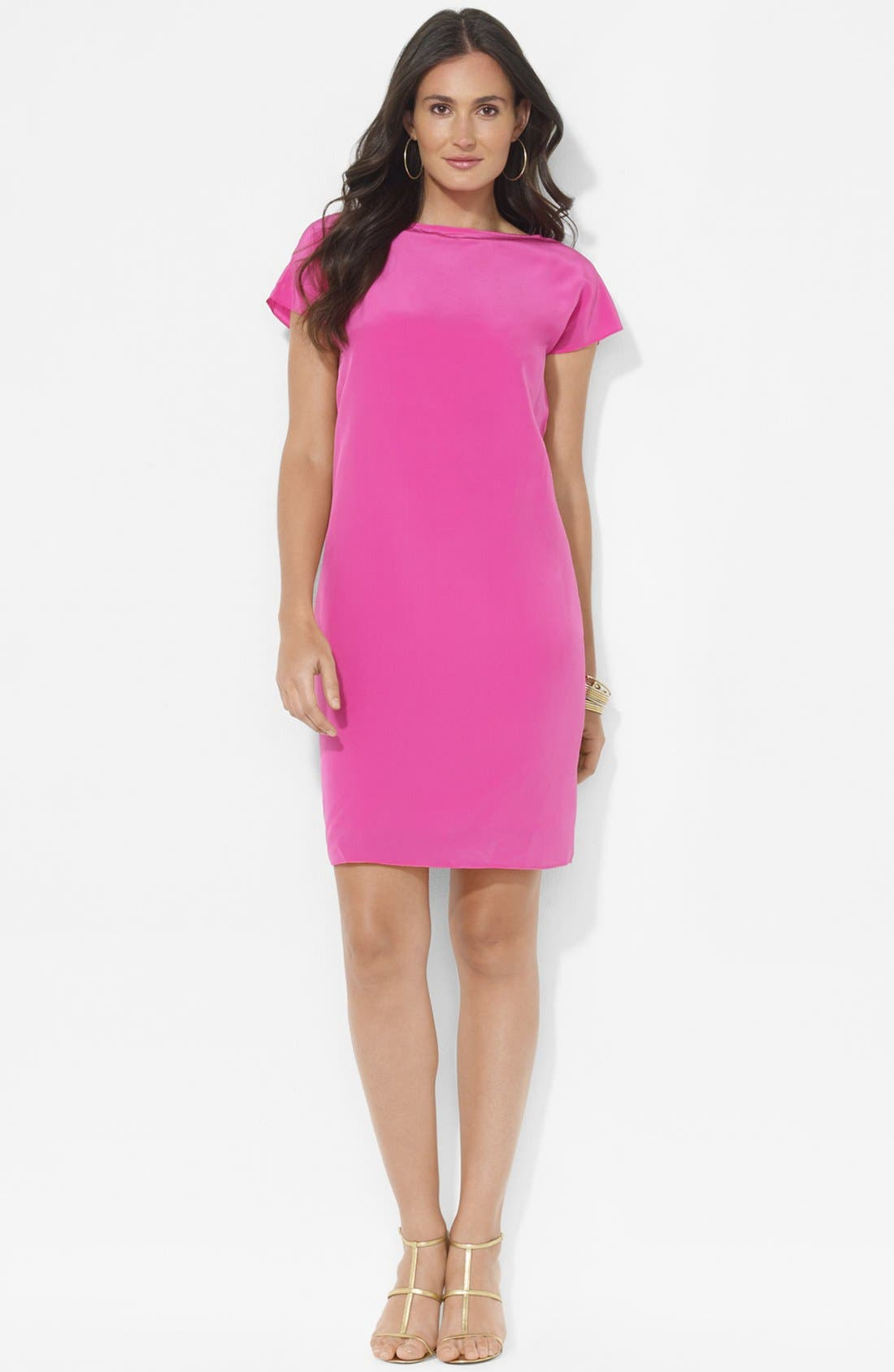 Main Image - Lauren Ralph Lauren Cap Sleeve Silk Shift Dress