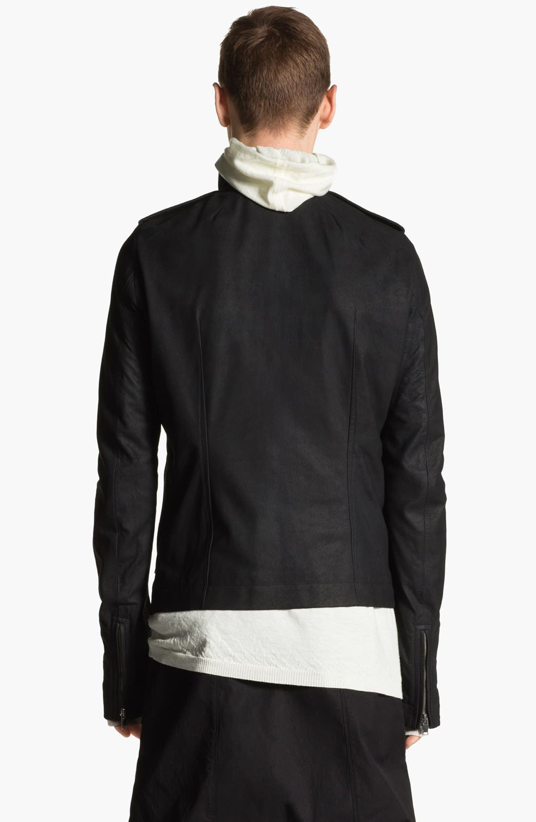 Alternate Image 2  - Rick Owens Lambskin Leather Biker Jacket