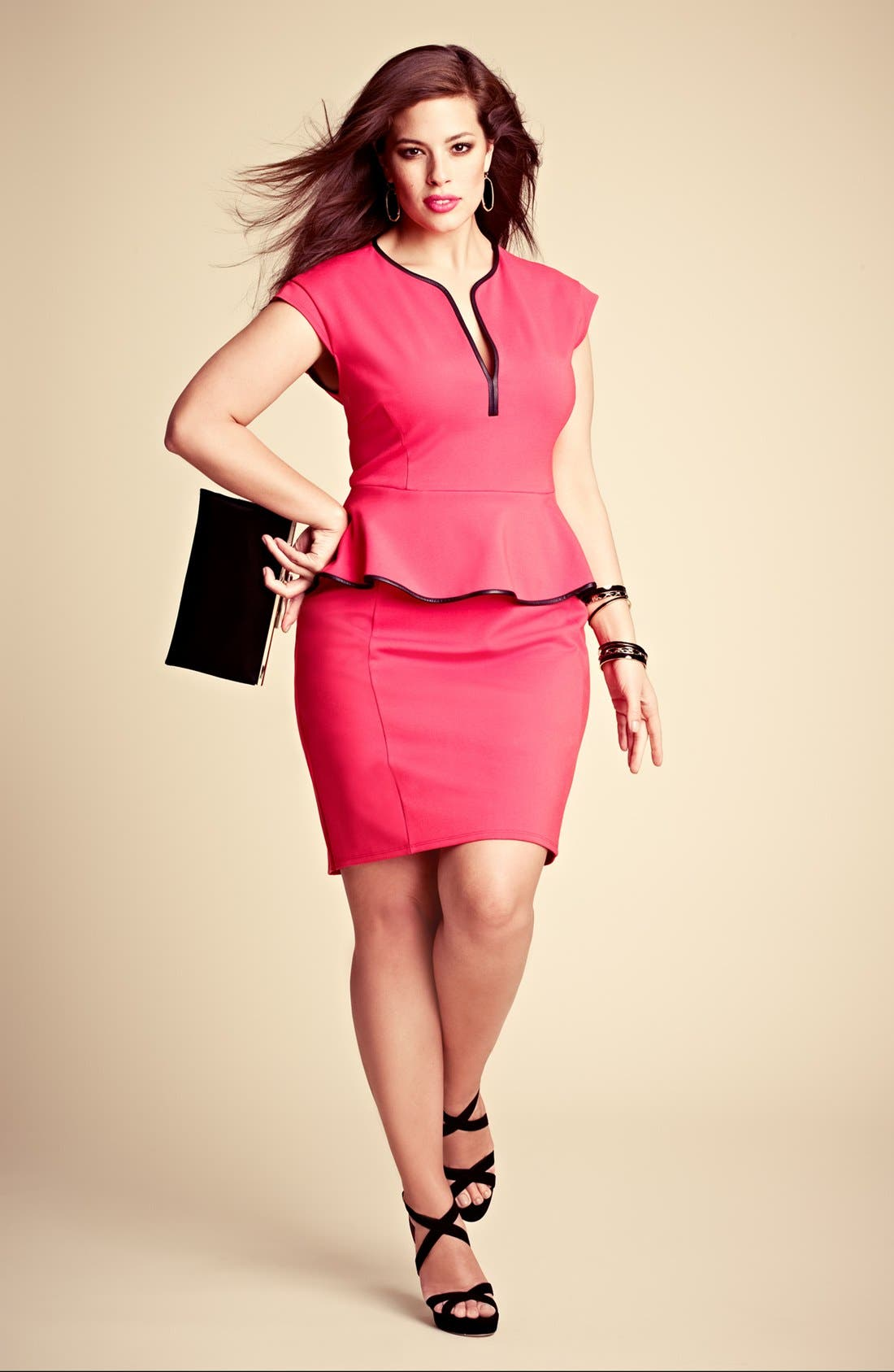 Alternate Image 5  - ABS by Allen Schwartz Leather Trim Peplum Dress (Plus Size)