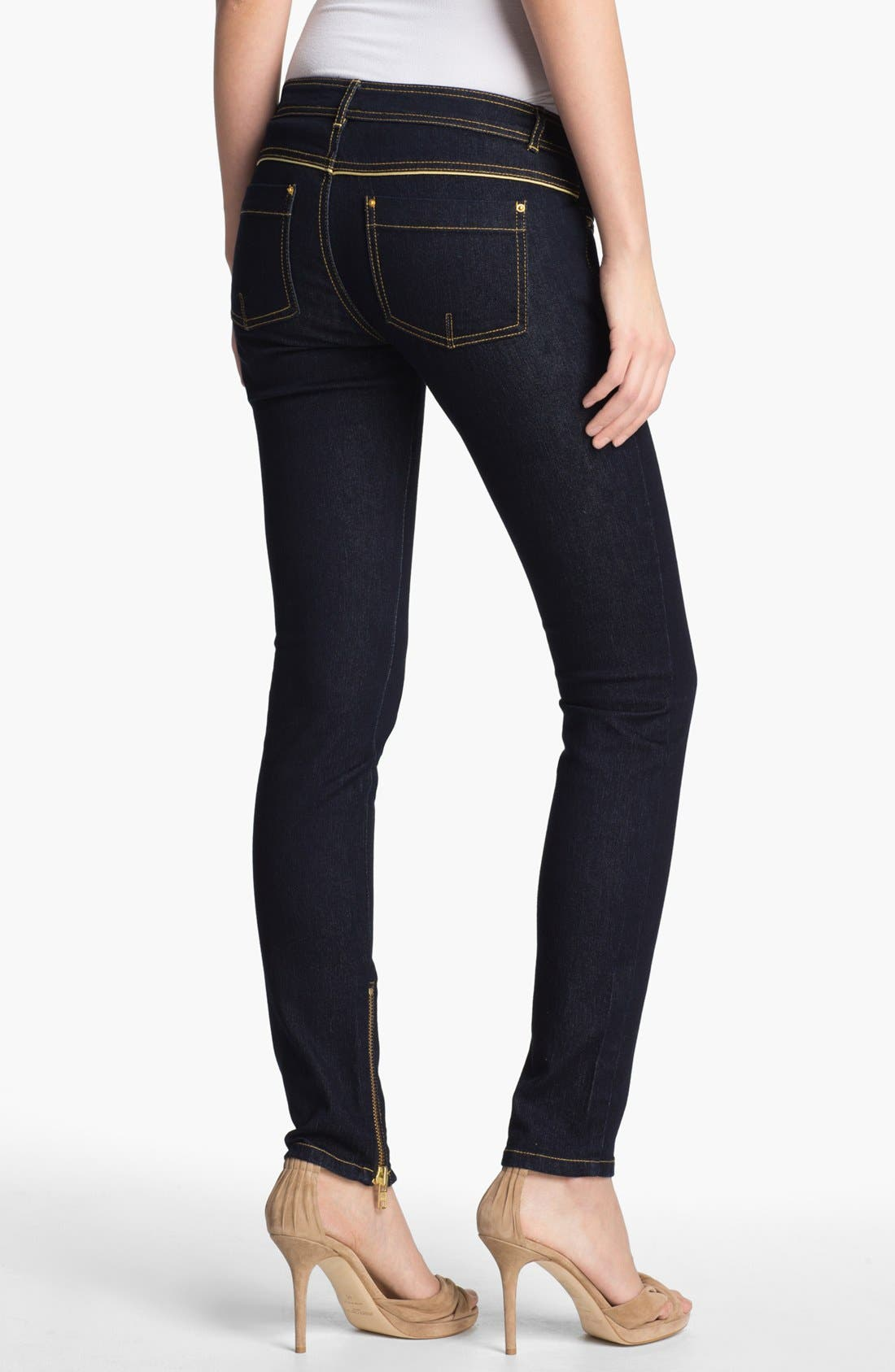 Alternate Image 2  - Rachel Zoe Leather Piped Skinny Stretch Jeans