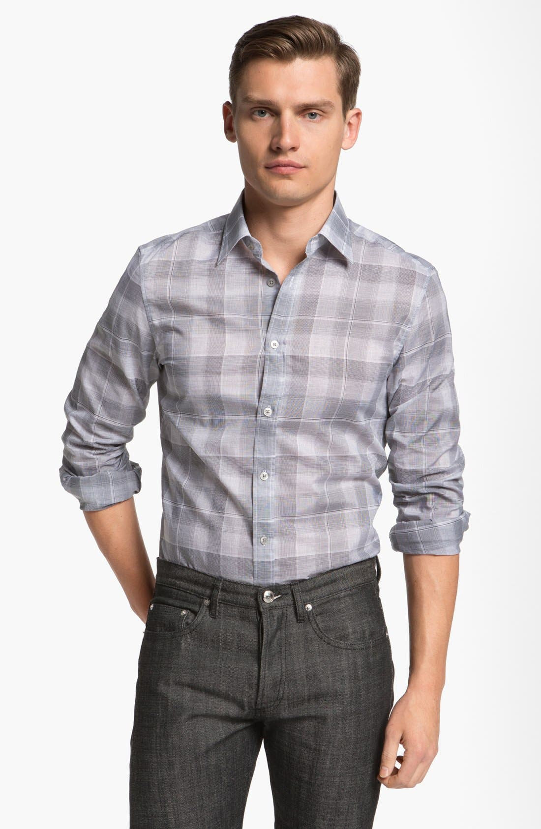 Alternate Image 1 Selected - Z Zegna 'Zephir' Check Cotton Sport Shirt