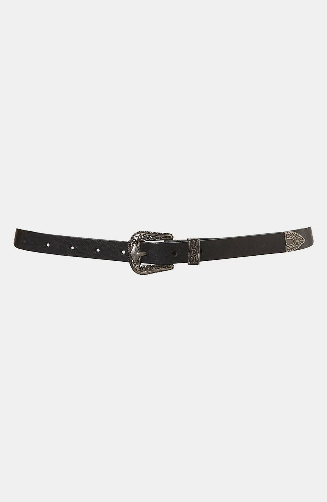 Alternate Image 1 Selected - Topshop Slim Leather Belt