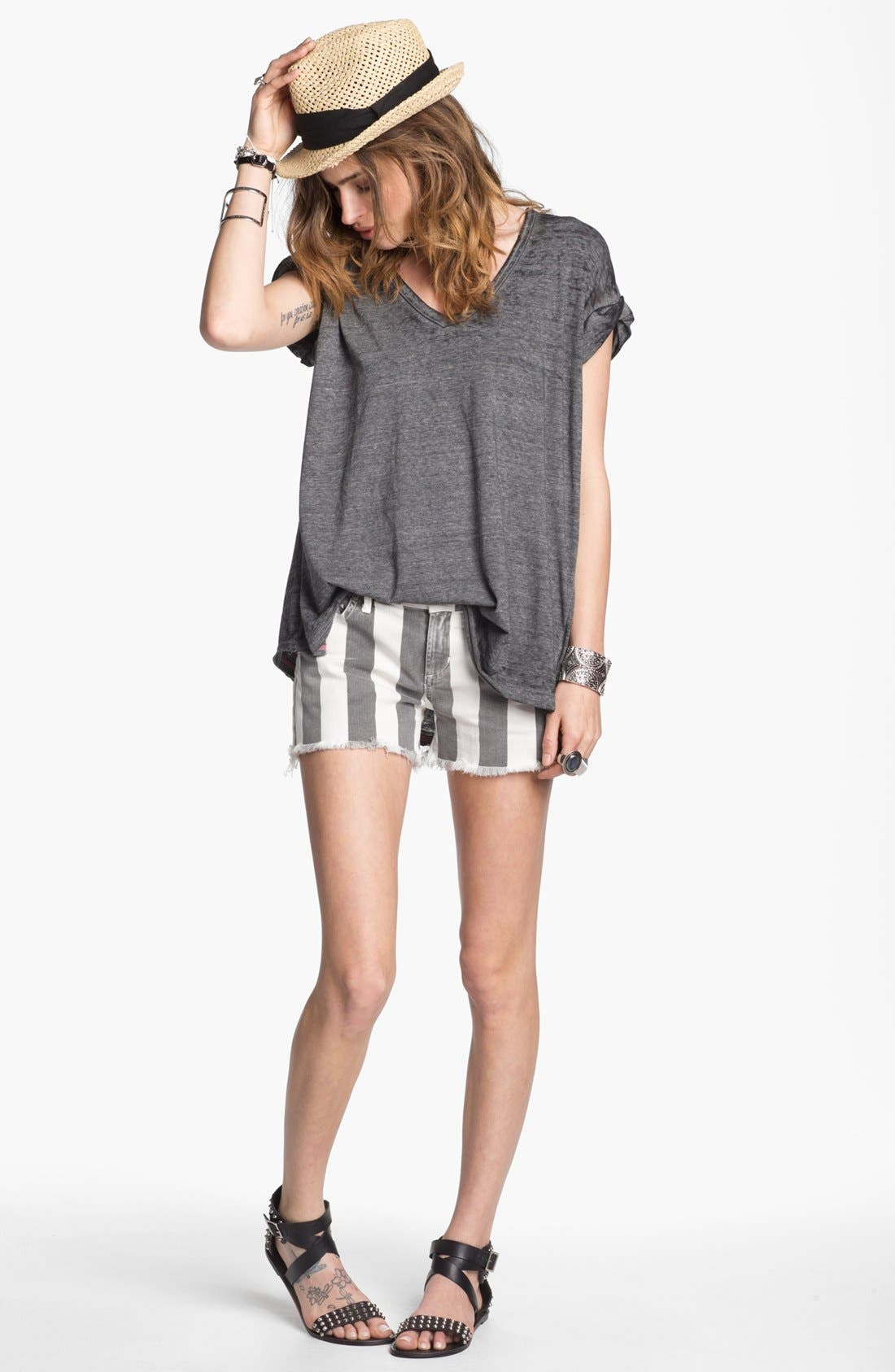 Main Image - Free People V-Neck Burnout Tee & Citizens of Humanity Cutoff Shorts