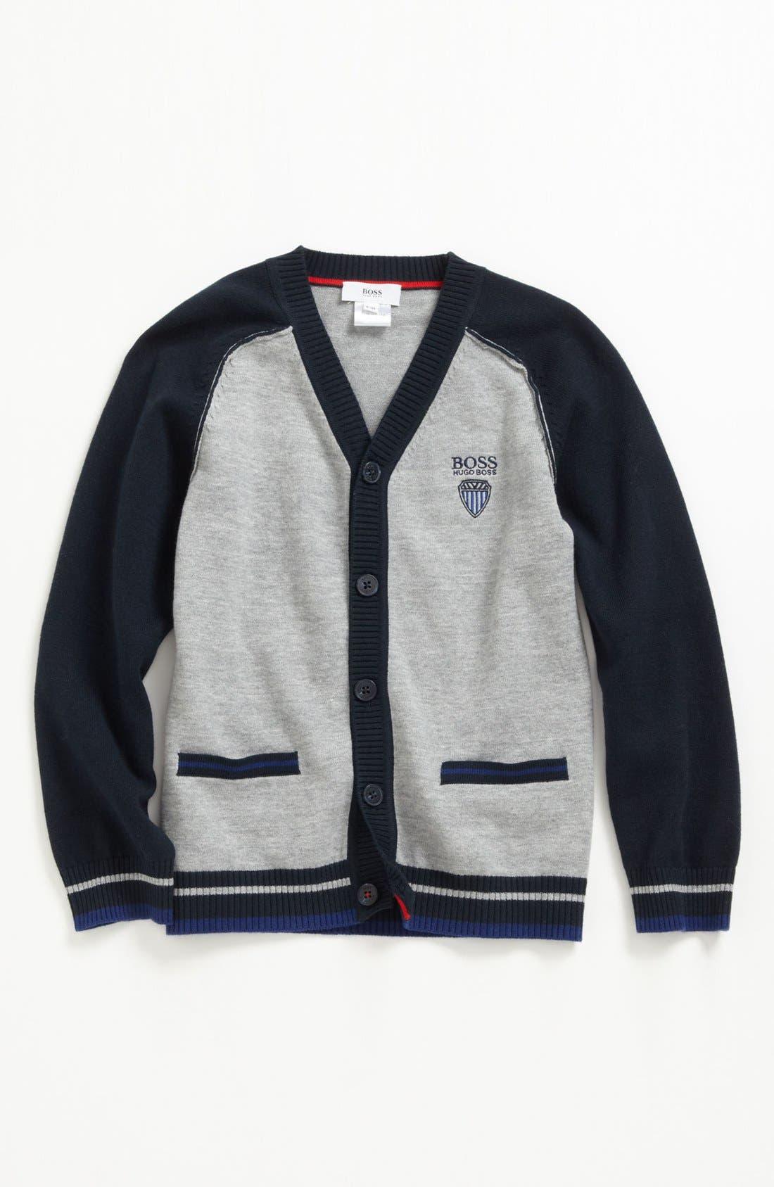 Alternate Image 1 Selected - BOSS Kidswear Cotton Cardigan (Little Boys & Big Boys)