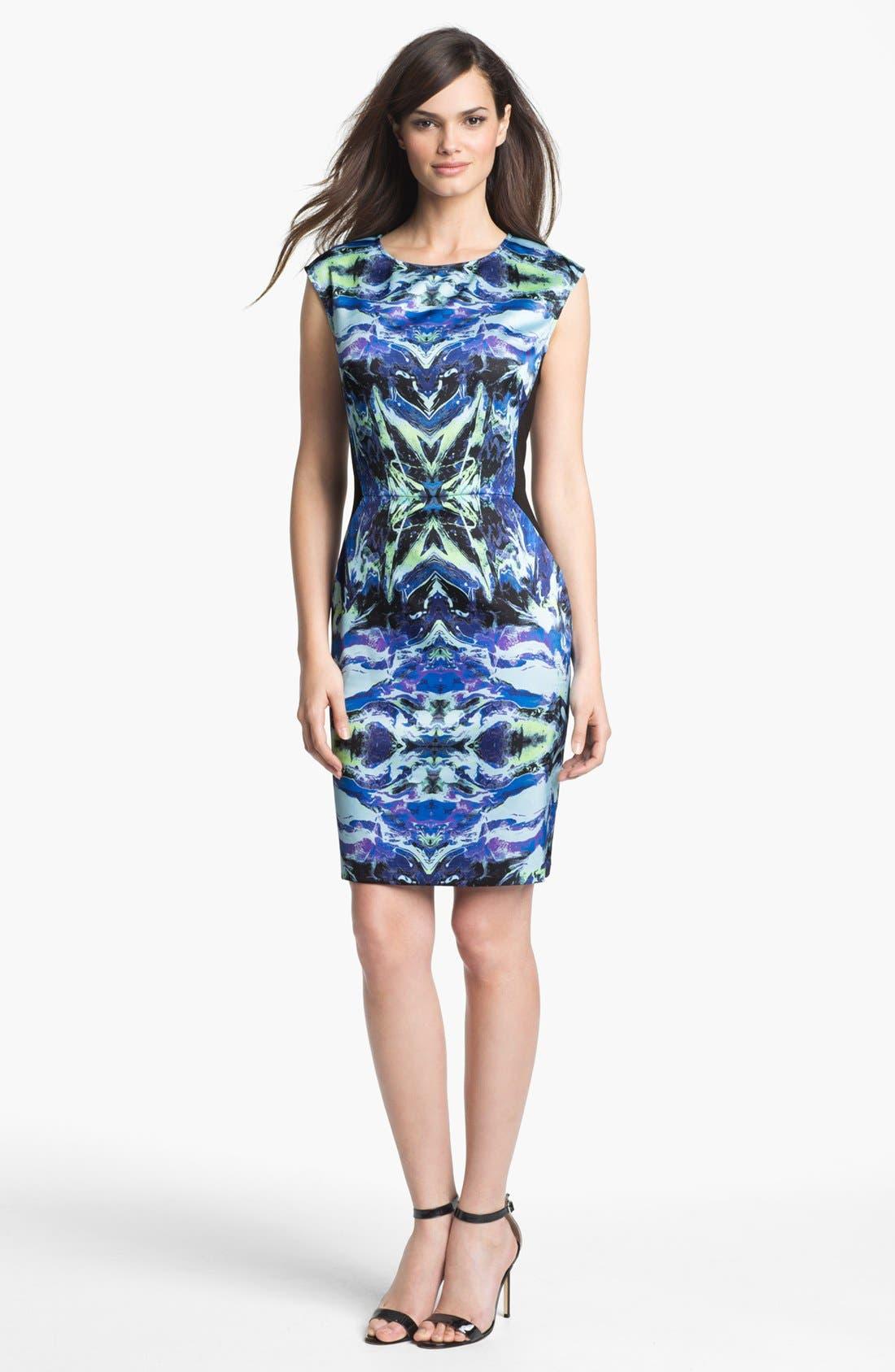 Alternate Image 1  - Suzi Chin for Maggy Boutique Front Print Sheath Dress