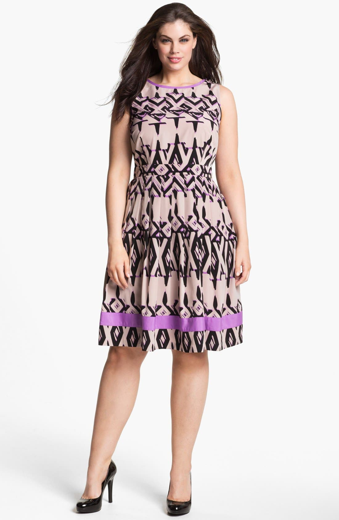 Alternate Image 1 Selected - Jessica Simpson Fit & Flare Dress (Plus Size)