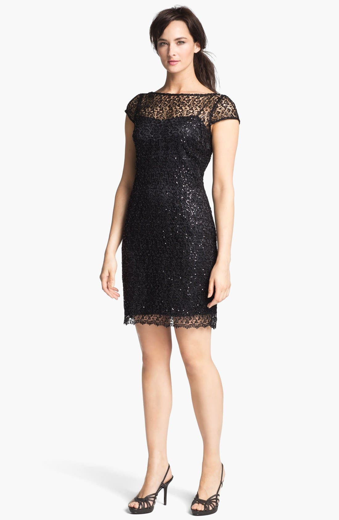 Main Image - Kay Unger Sequin & Crochet Slipdress