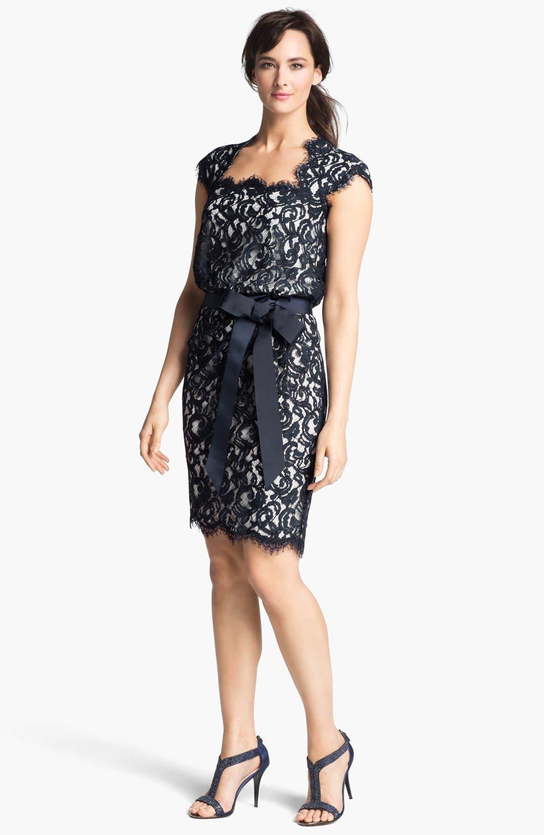 Alternate Image 1 Selected - Tadashi Shoji Cap Sleeve Lace Blouson Dress