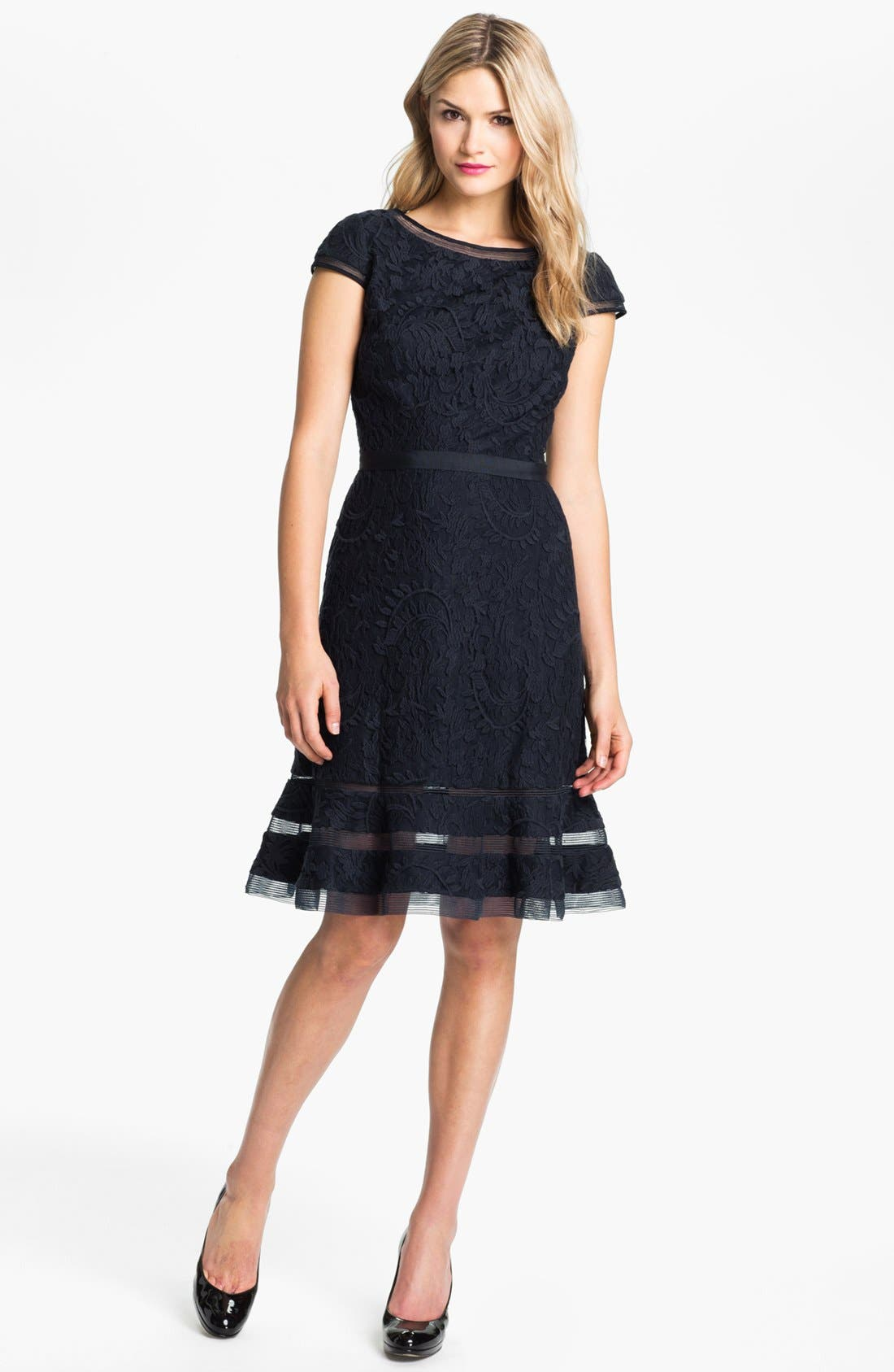 Alternate Image 1 Selected - Adrianna Papell Lace Fit & Flare Dress (Regular & Petite)