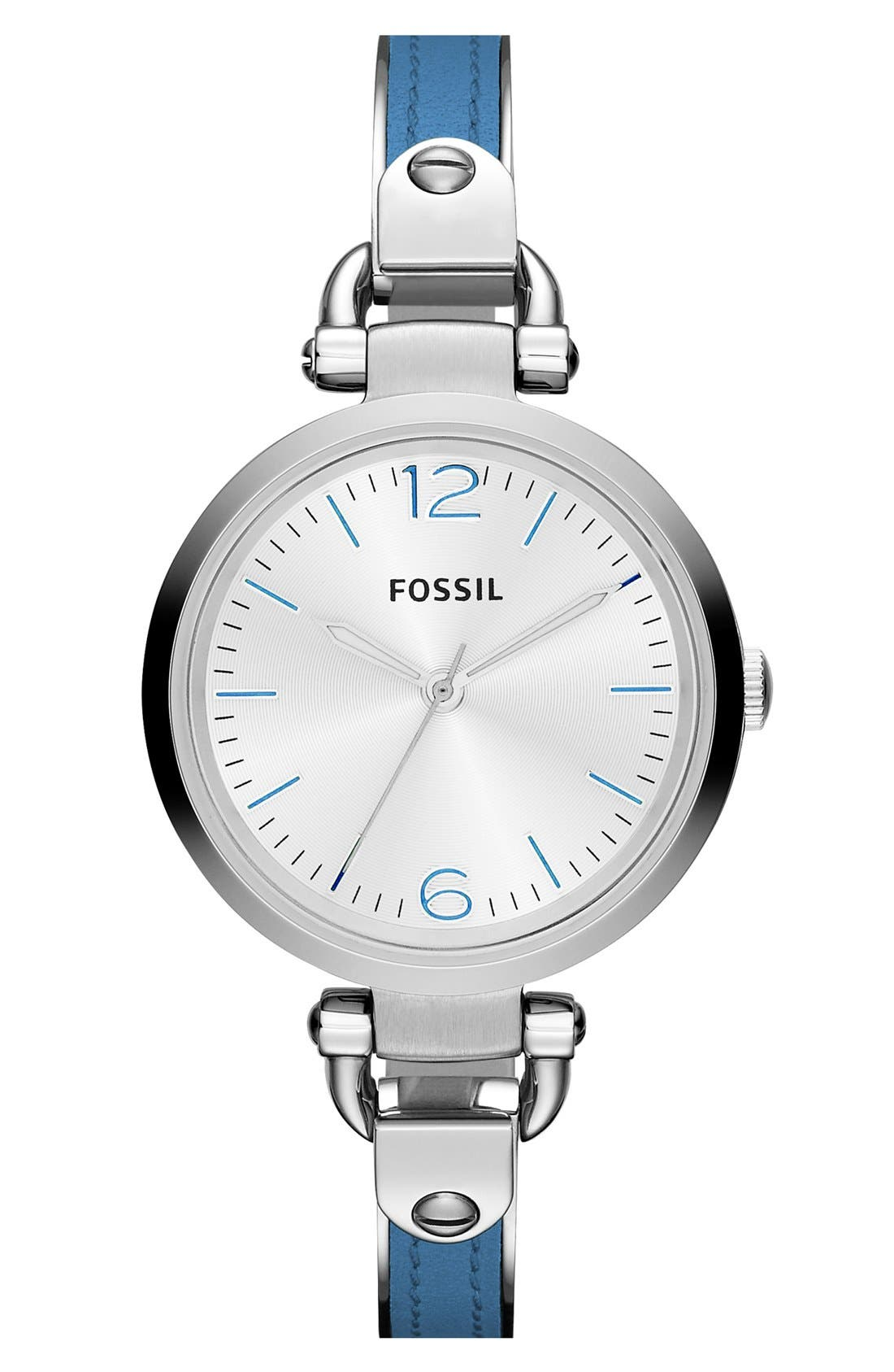 Main Image - Fossil 'Georgia' Leather Bangle Watch, 32mm