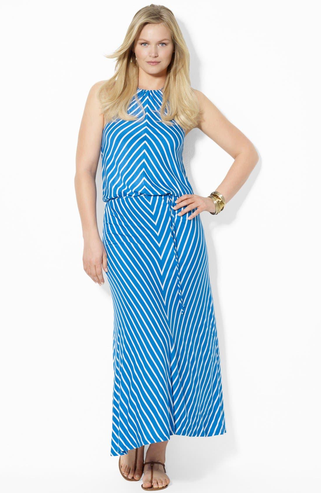 Main Image - Lauren Ralph Lauren Blouson Maxi Dress (Plus Size)