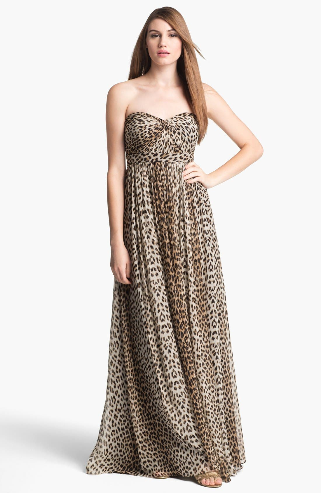 Alternate Image 1 Selected - Jenny Yoo 'Aidan' Convertible Leopard Print Long Chiffon Gown (Online Only)