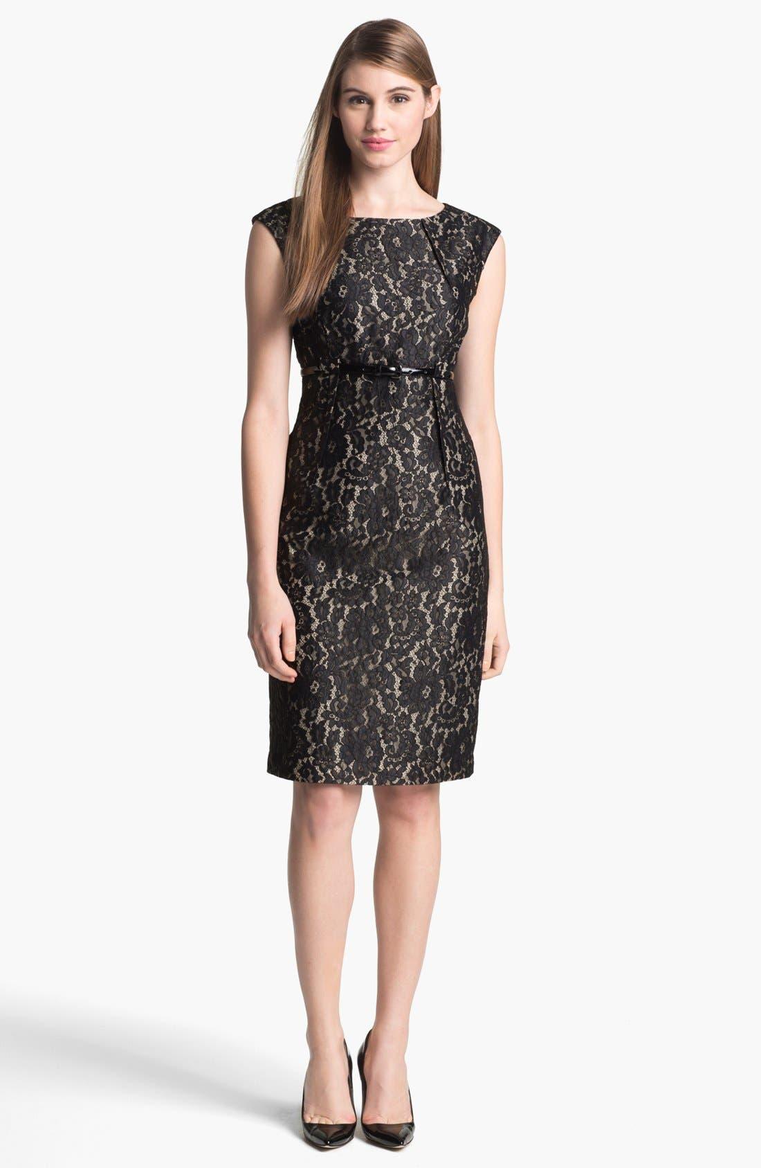 Alternate Image 1 Selected - Calvin Klein Belted Lace Sheath Dress (Regular & Petite)