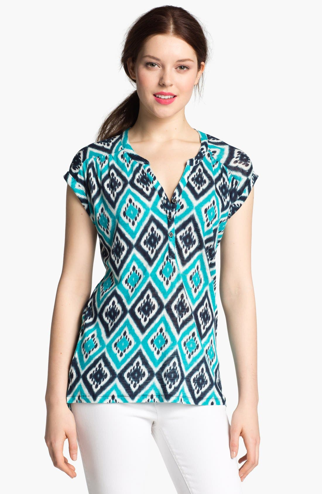 Alternate Image 1 Selected - Lucky Brand 'Ikat Diamond' Cotton Top