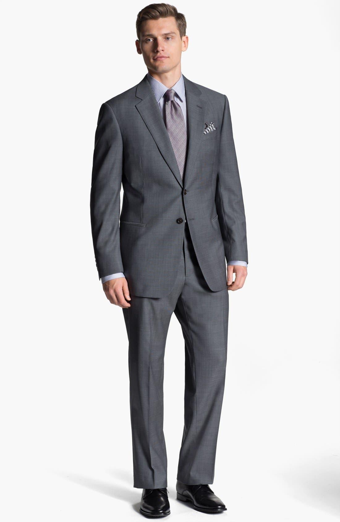 Alternate Image 2  - Armani Collezioni 'Giorgio' Tic Weave Wool Suit