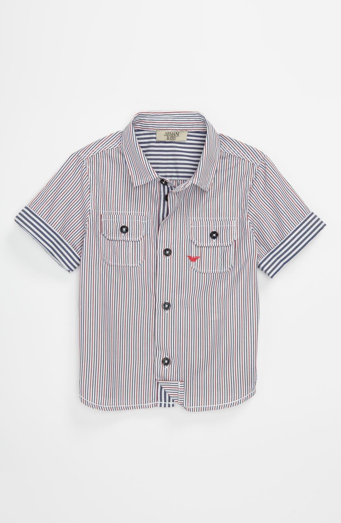 Main Image - Armani Junior Stripe Shirt (Baby)