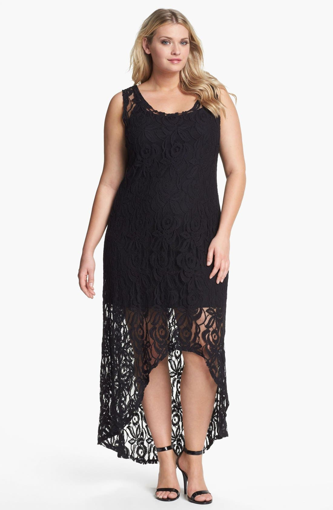 Alternate Image 1 Selected - Loveappella Lace High/Low Maxi Dress (Plus Size)