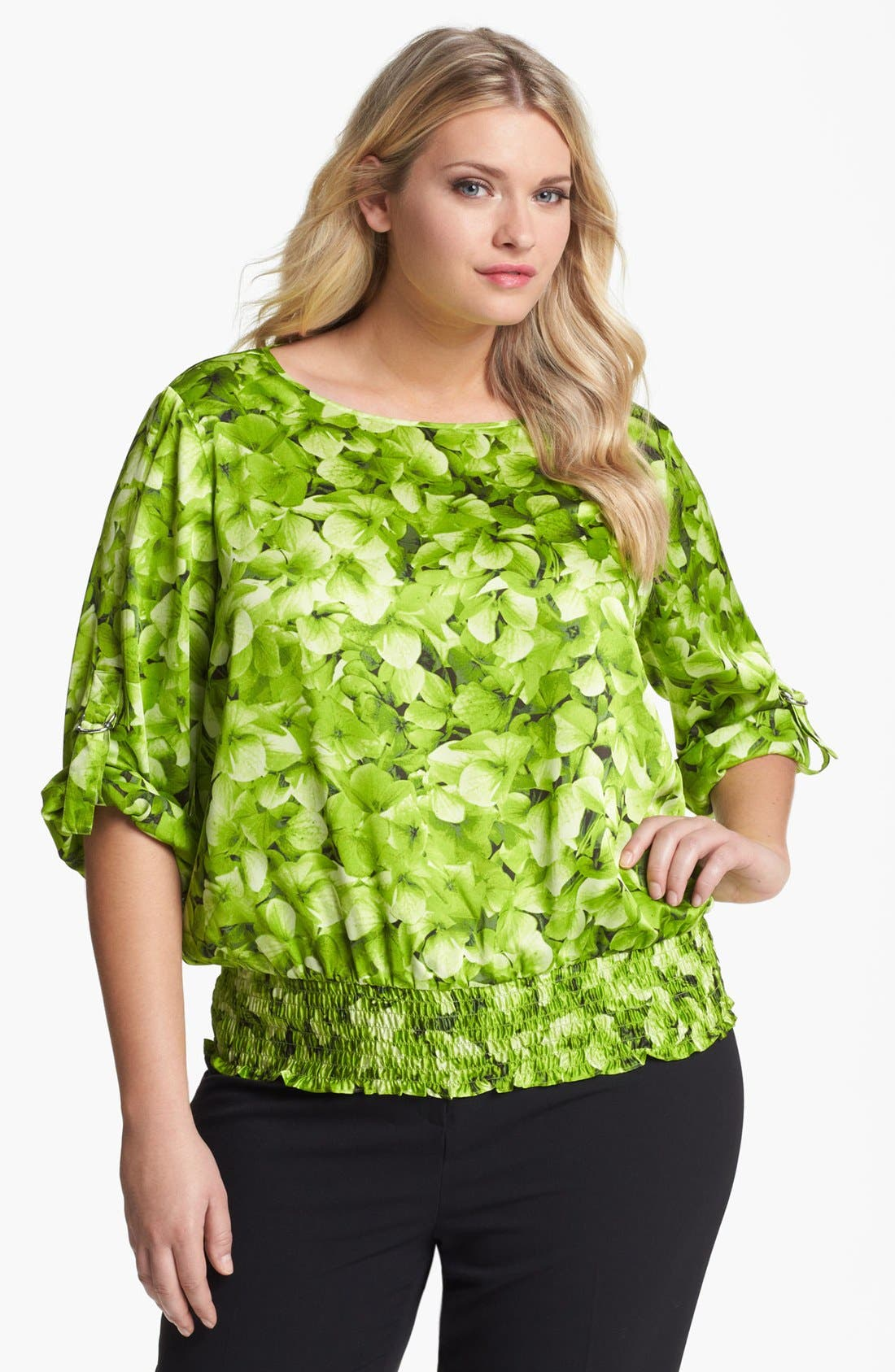 Alternate Image 1 Selected - MICHAEL Michael Kors Hydrangea Print Top (Plus)