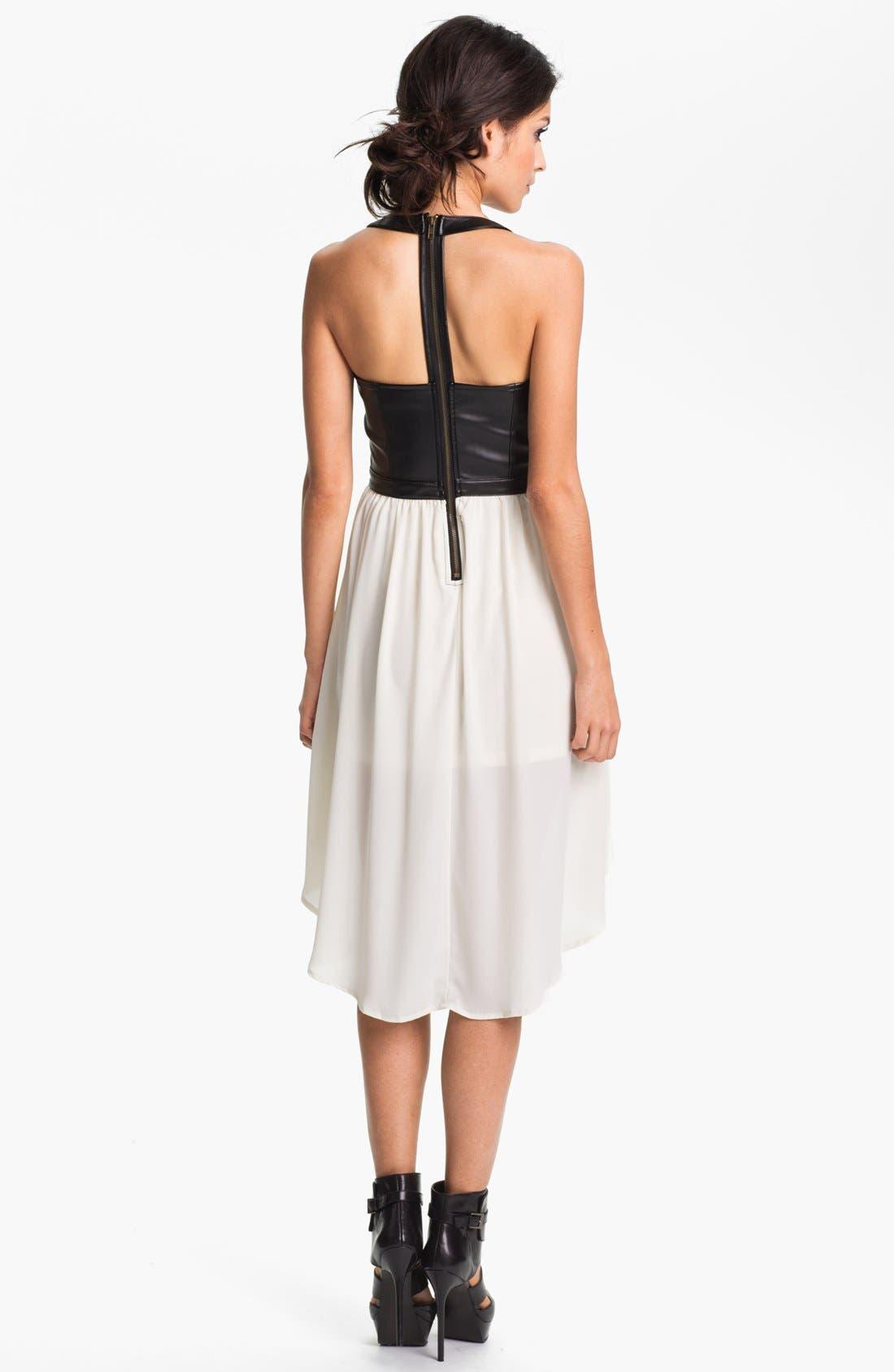 Alternate Image 2  - Lush Clothing Cutout Faux Leather Bustier Dress (Juniors)