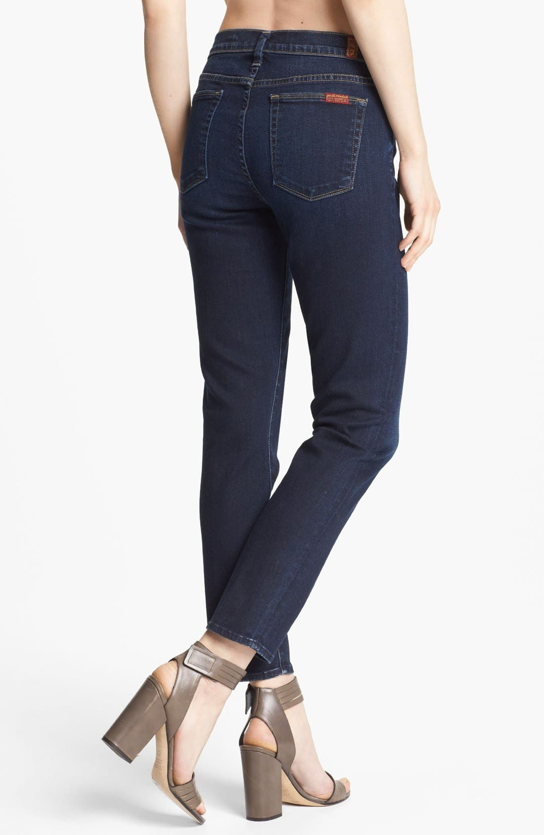 Alternate Image 2  - 7 For All Mankind® Slim Straight Leg Jeans (Illusion Dark Rich Blue)