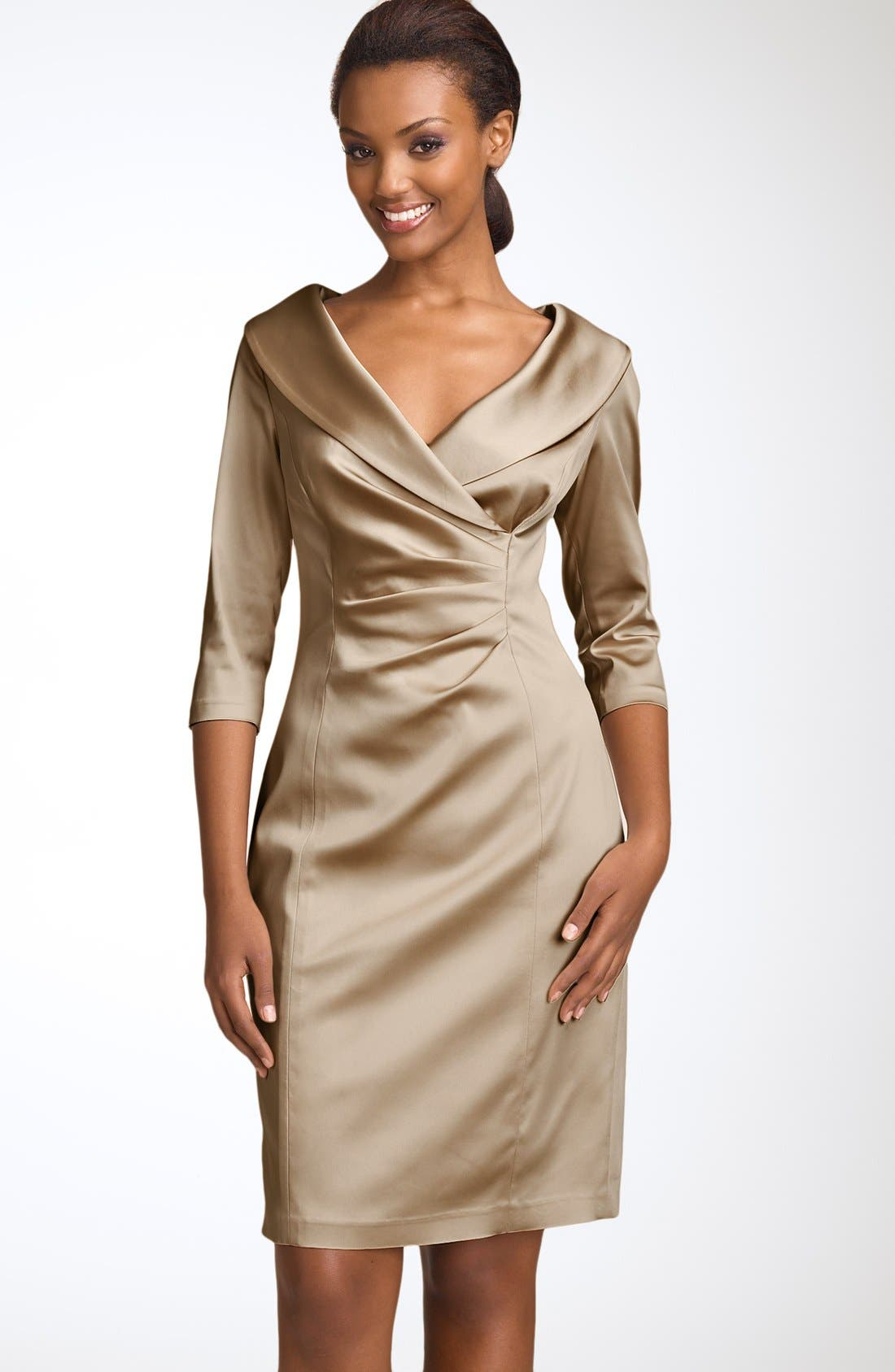 Main Image - Kay Unger Stretch Satin Sheath Dress