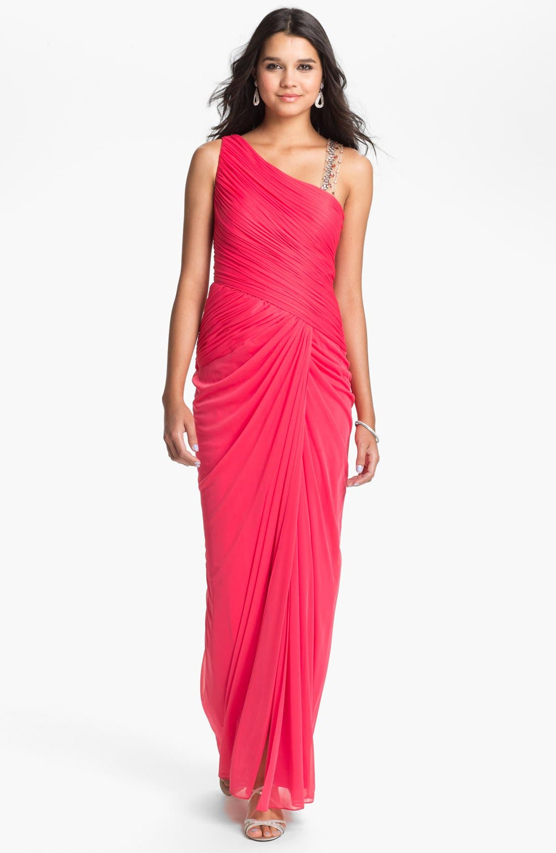 Alternate Image 1 Selected - Adrianna Papell Embellished Mesh Gown (Petite)