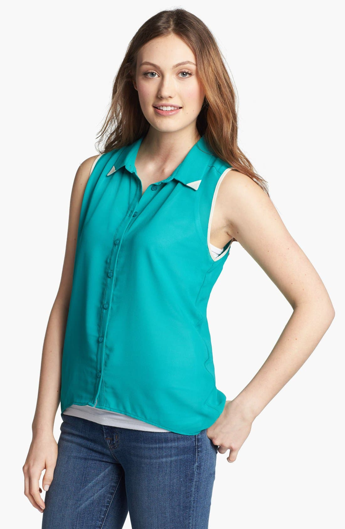 Alternate Image 1 Selected - Olive & Oak Tipped Collar Sleeveless Blouse