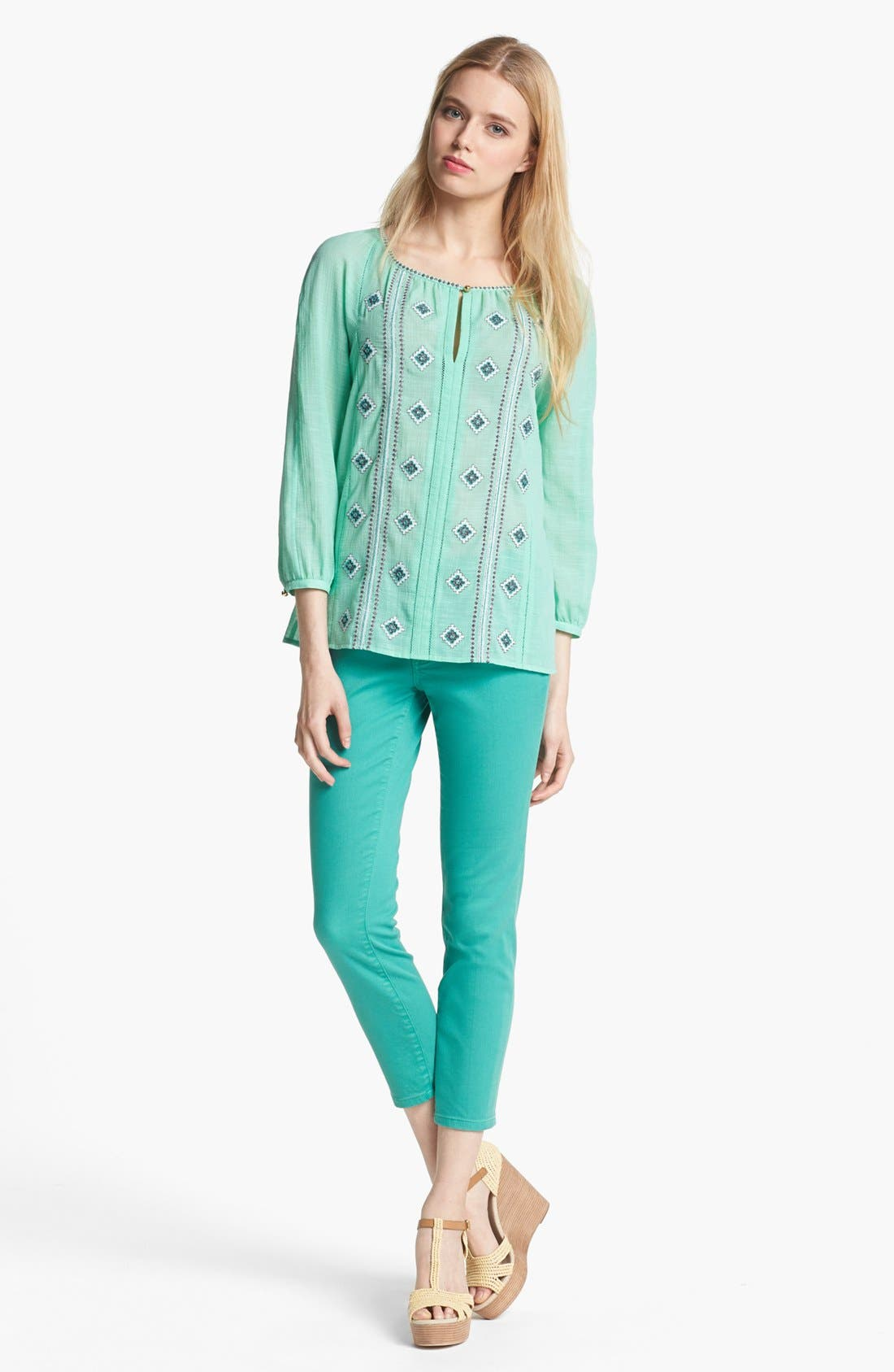 Alternate Image 4  - Tory Burch 'Alexa' Skinny Crop Stretch Jeans (Viridian Green)