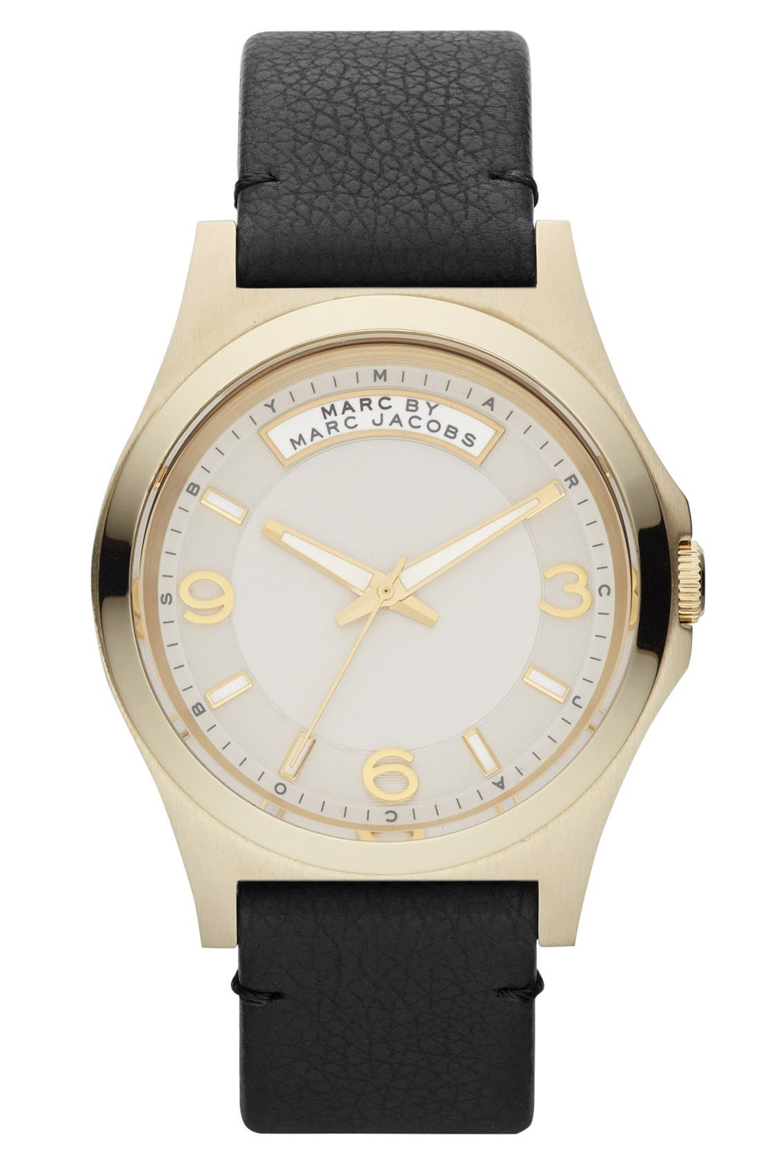 Main Image - MARC BY MARC JACOBS 'Baby Dave' Leather Strap Watch, 40mm