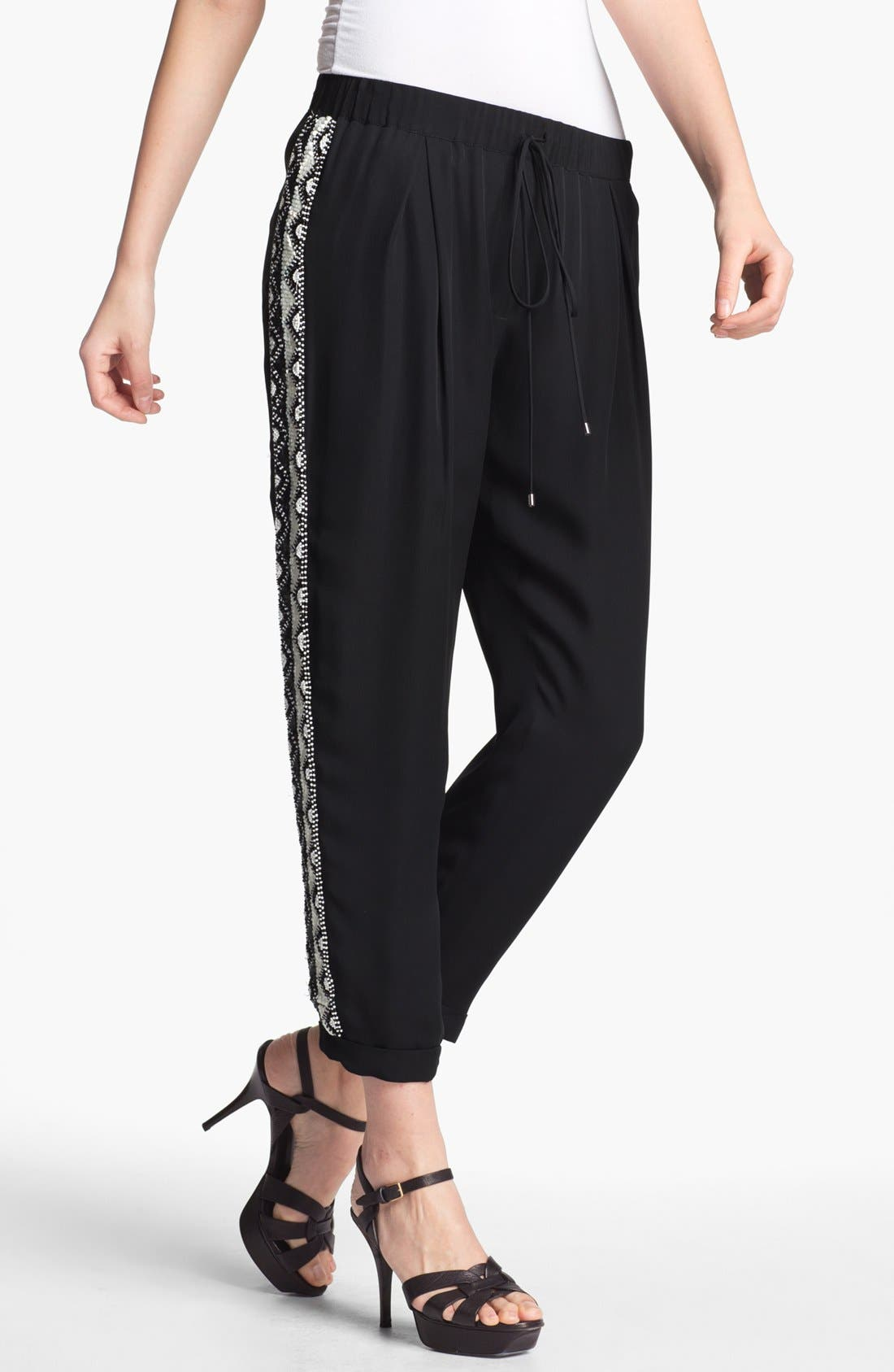 Alternate Image 1 Selected - Haute Hippie Beaded Silk Trousers