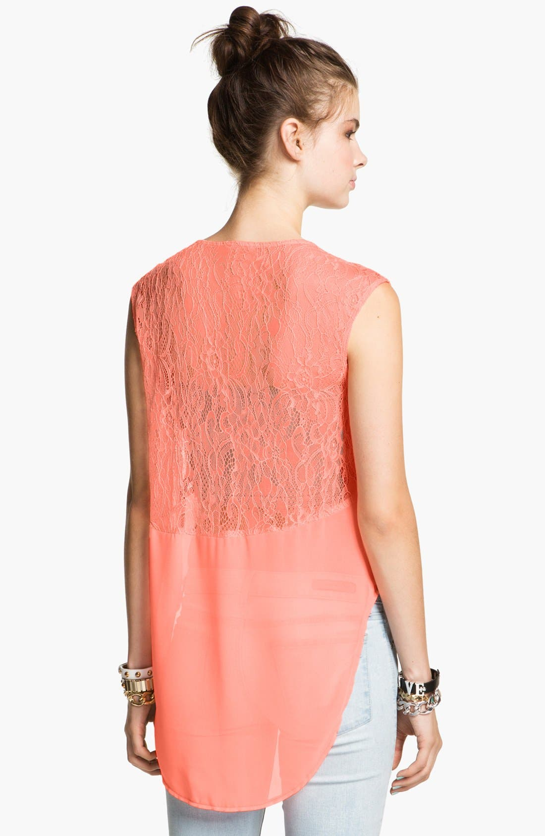Alternate Image 2  - Lush Lace Trim High/Low Tank (Juniors)