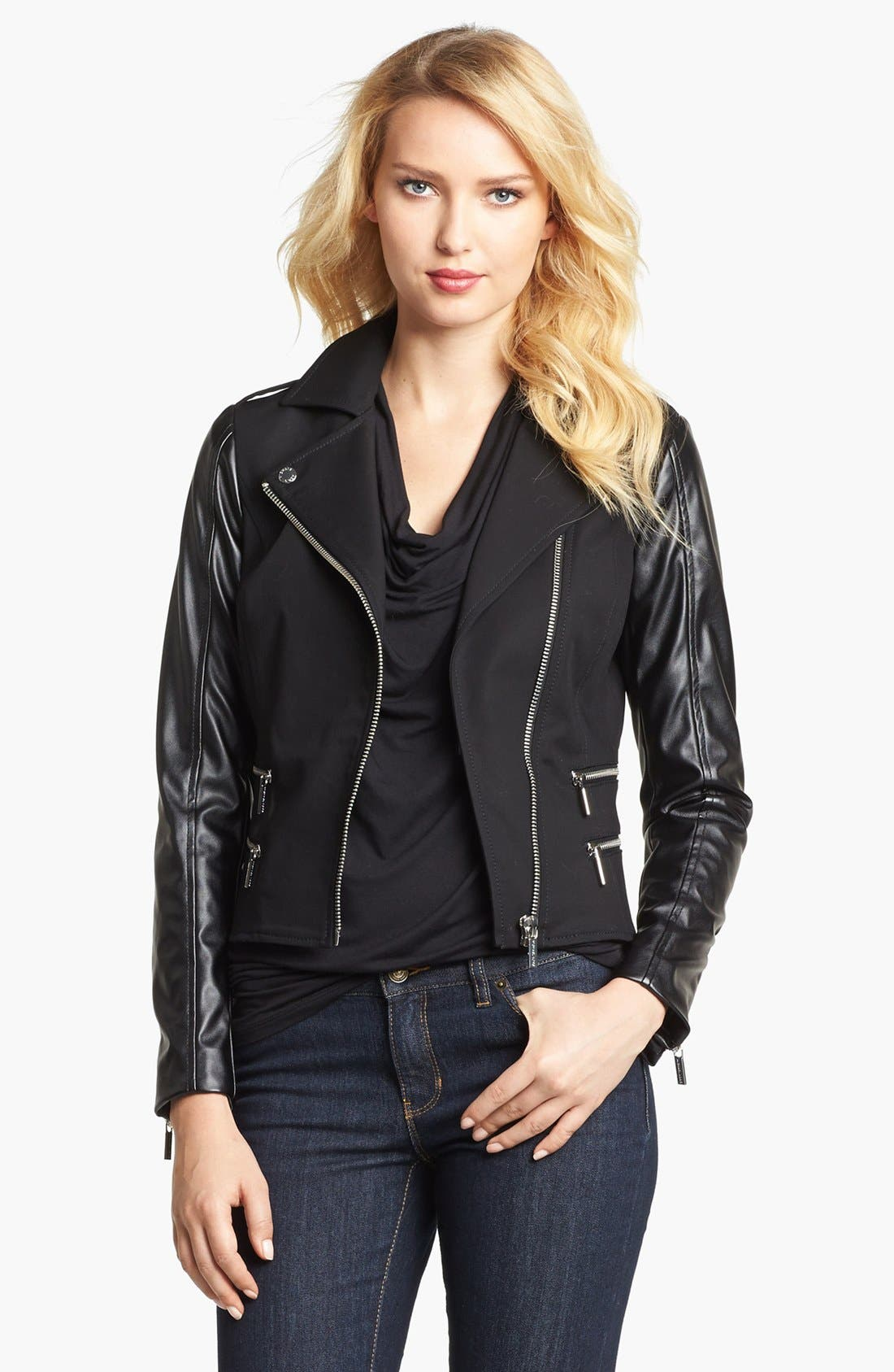 Main Image - MICHAEL Michael Kors Knit & Faux Leather Moto Jacket