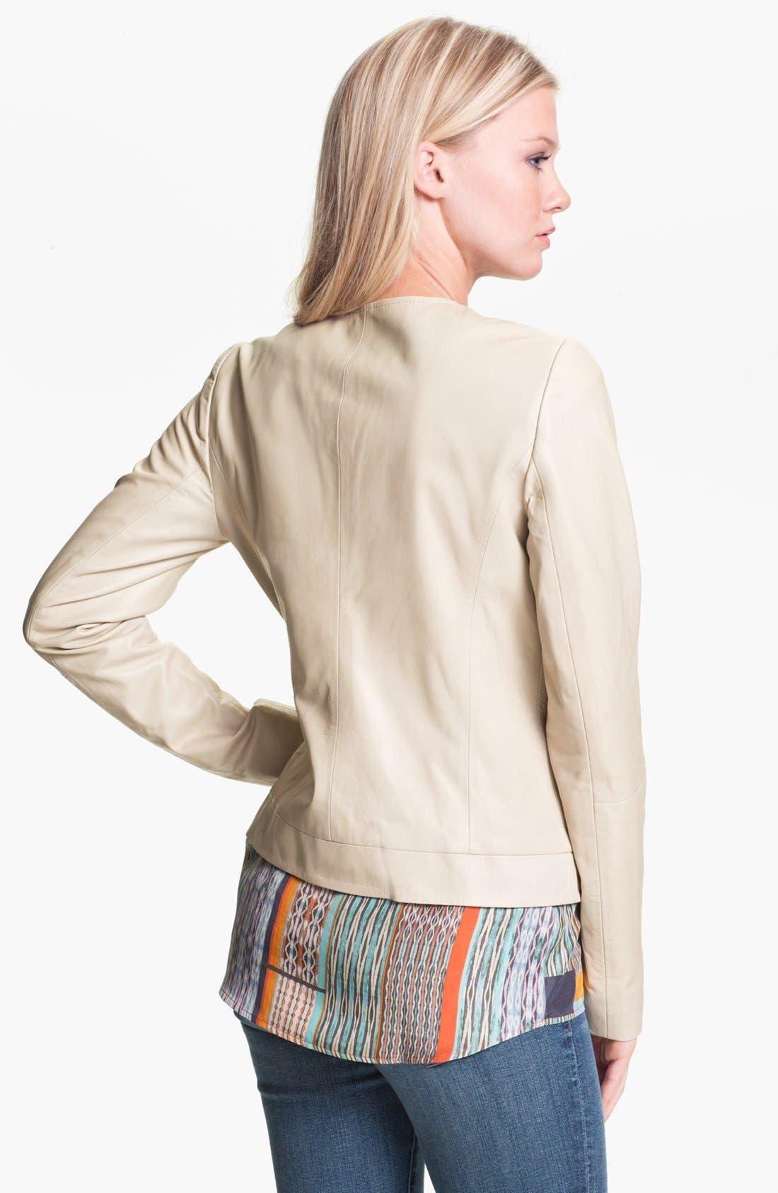 Alternate Image 2  - Hinge® Braid Front Leather Jacket