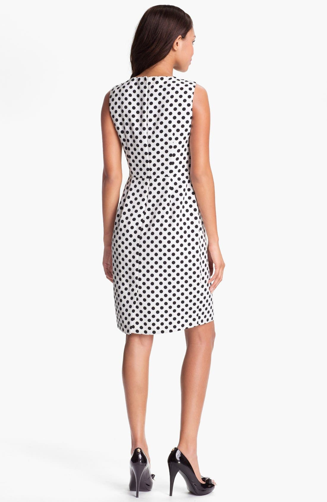Alternate Image 2  - Adrianna Papell Pleated Polka Dot Sheath Dress (Regular & Petite)