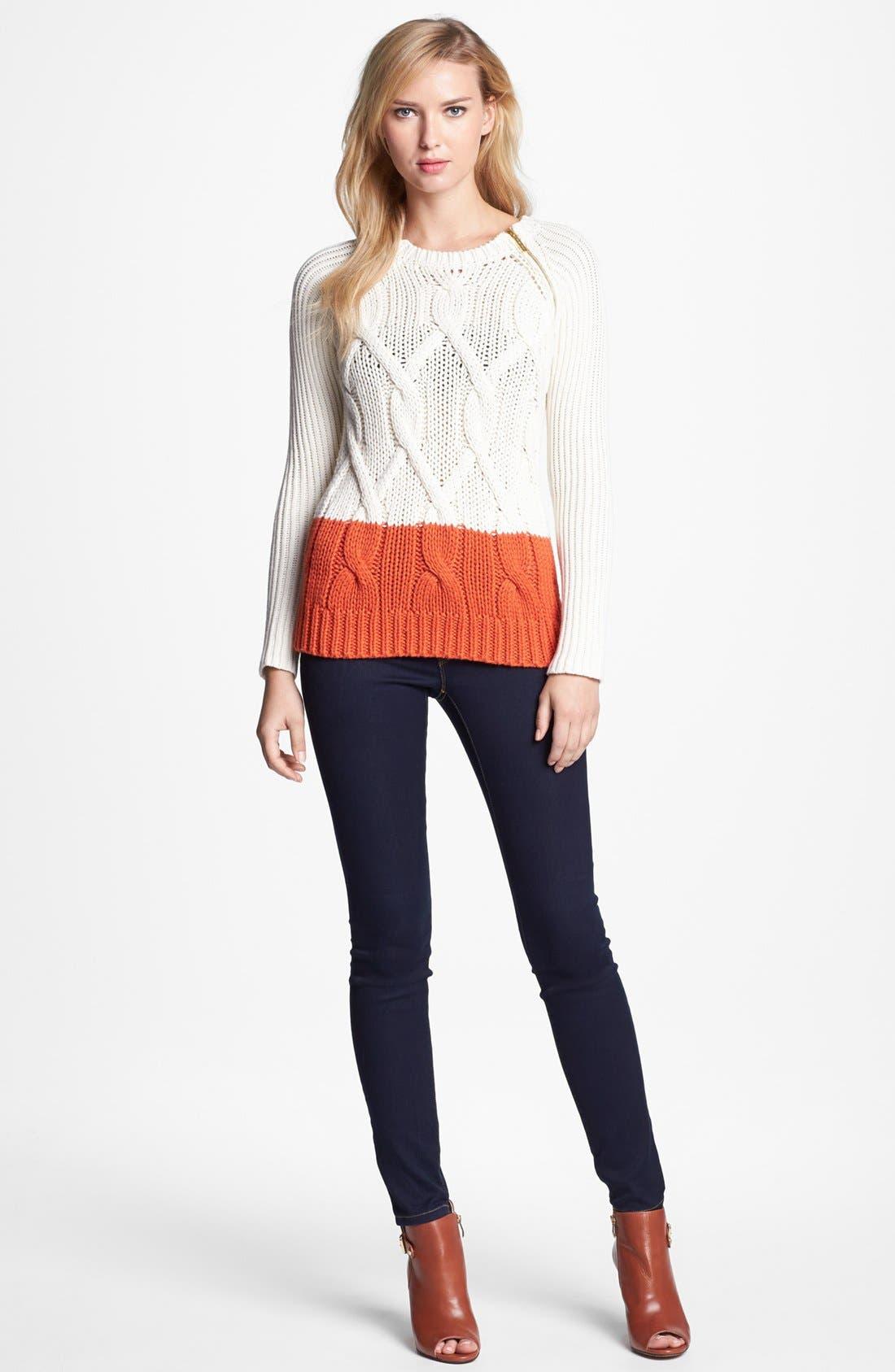 Alternate Image 2  - MICHAEL Michael Kors Colorblock Sweater & Skinny Jeans