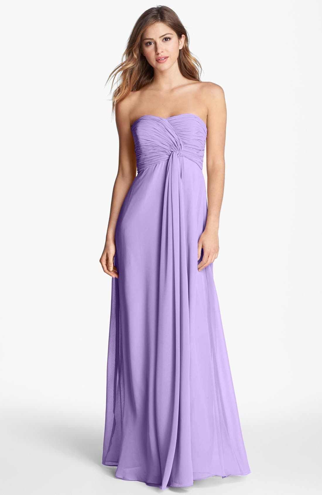 Main Image - Donna Morgan 'Lisa' Strapless Front Draped Gown (Online Only)