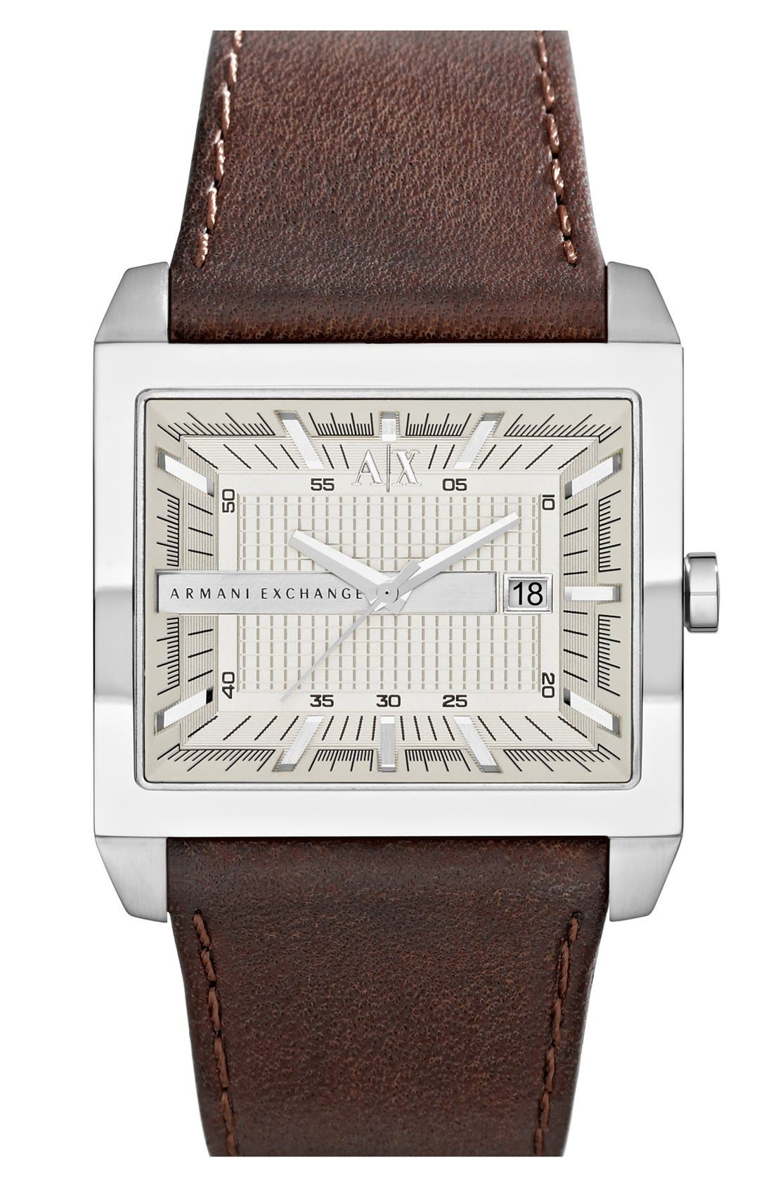 Main Image - AX Armani Exchange Rectangular Leather Strap Watch, 43mm x 36mm