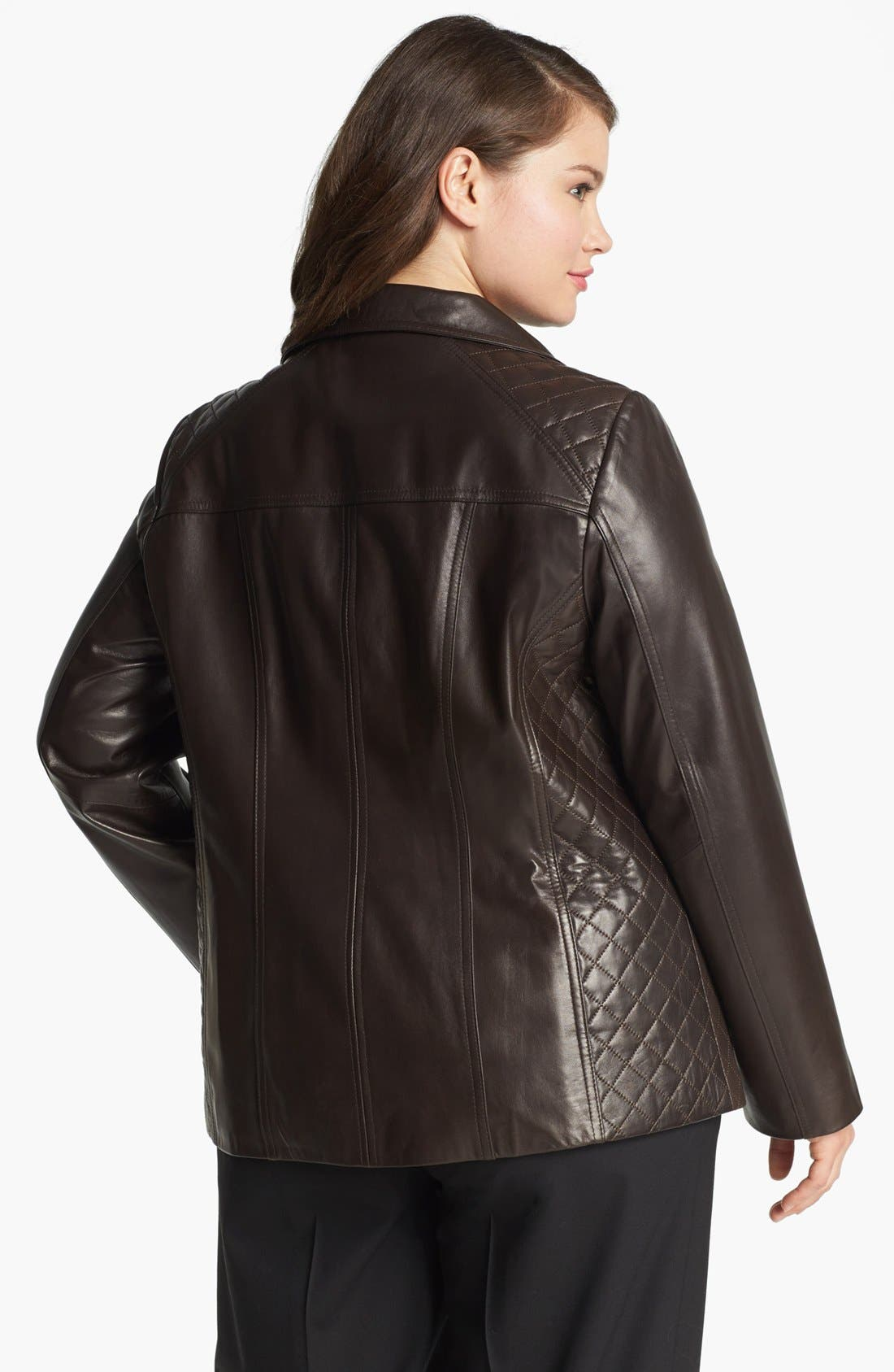 Alternate Image 2  - Ellen Tracy Quilted Trim Leather Jacket (Plus Size)