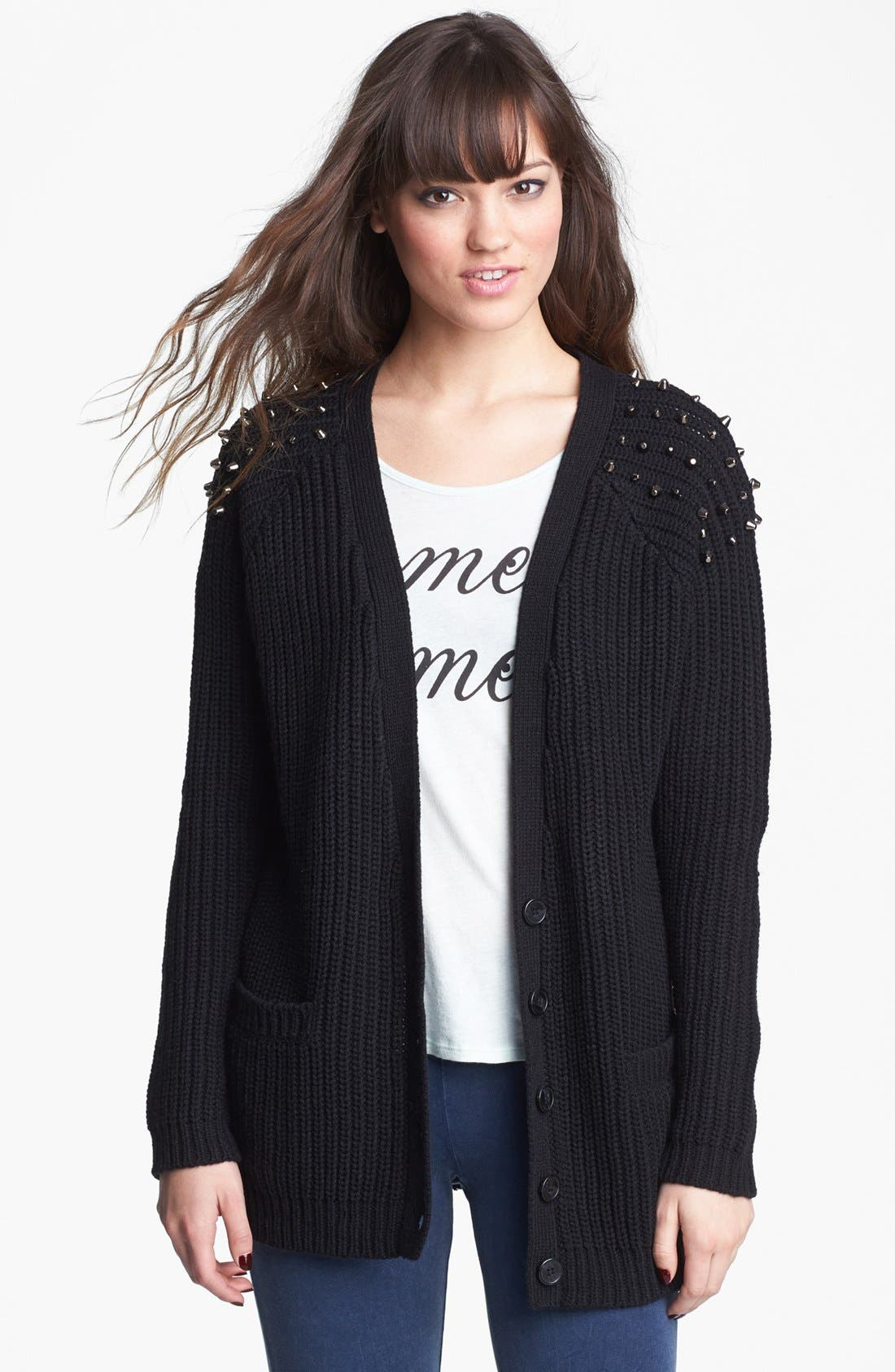 Main Image - Love By Design Studded Long Cardigan (Juniors) (Online Only)