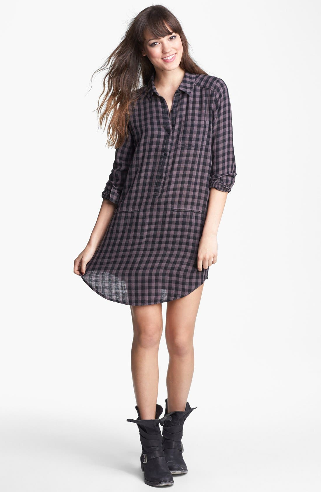 Alternate Image 1 Selected - Rubbish® Plaid Shirtdress (Juniors)