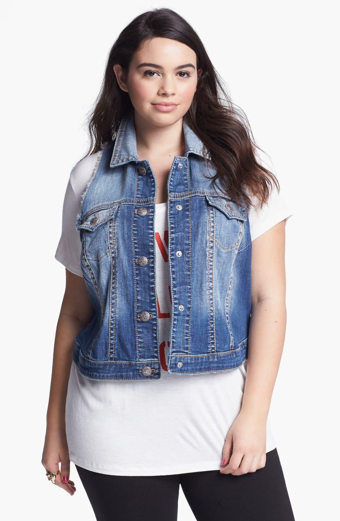 Alternate Image 1 Selected - Silver Jeans Co. Denim Vest (Juniors Plus)